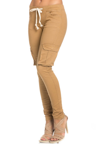 Mid Rise Skinny Wheat Cargo Pants - Pants - My Yuccie - 1
