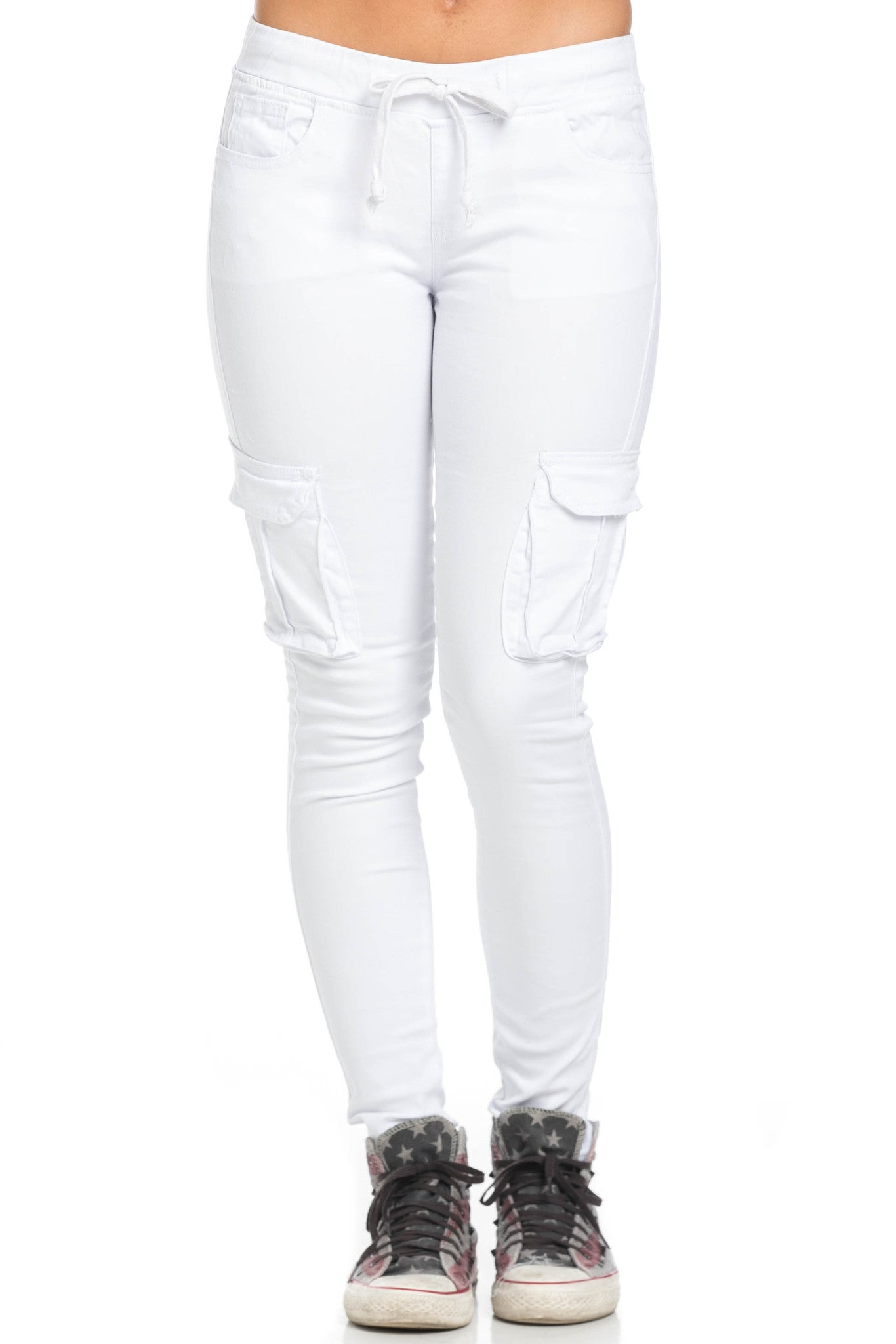 Mid Rise Skinny White Cargo Pants - Pants - My Yuccie - 2