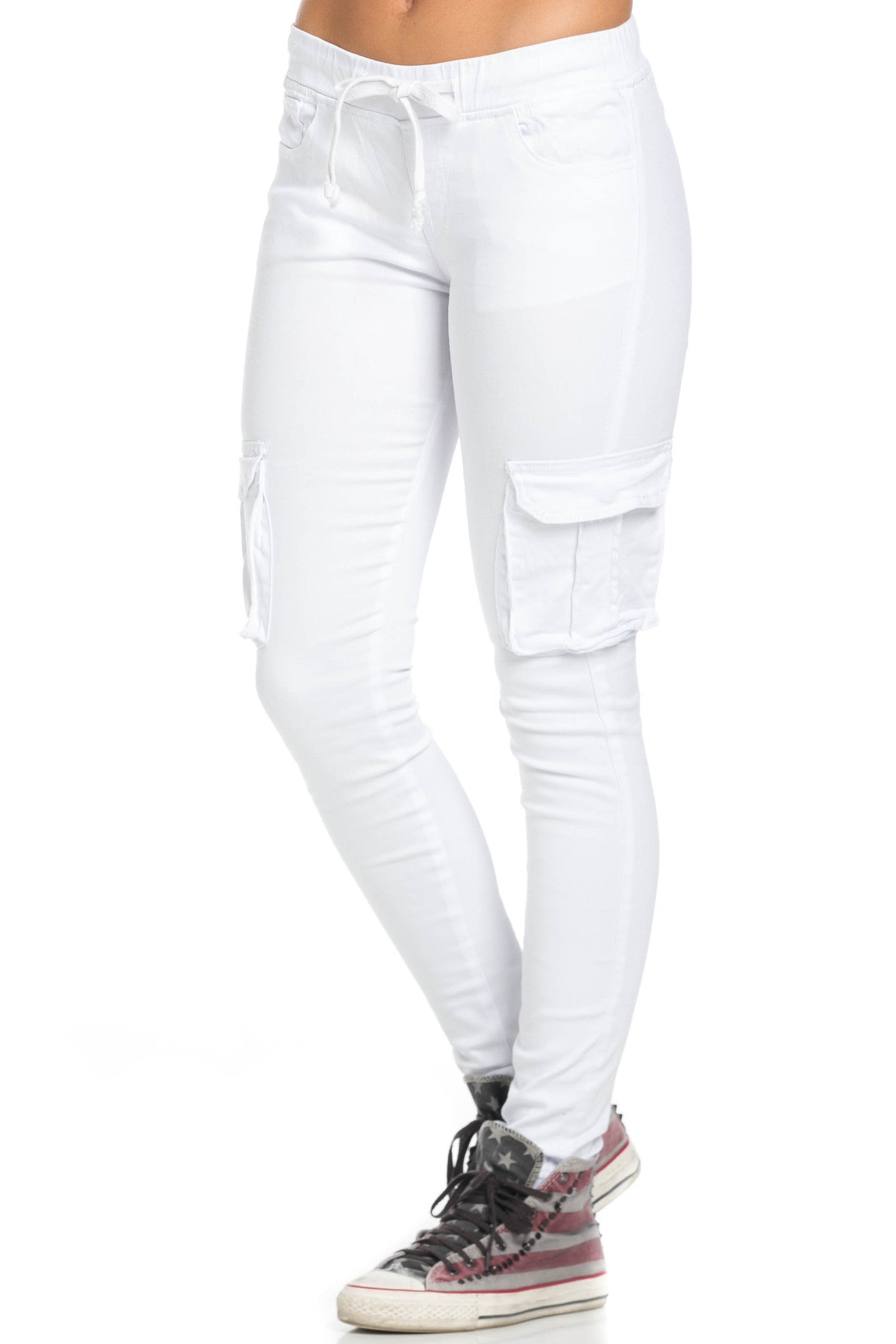 Mid Rise Skinny White Cargo Pants - Pants - My Yuccie - 1