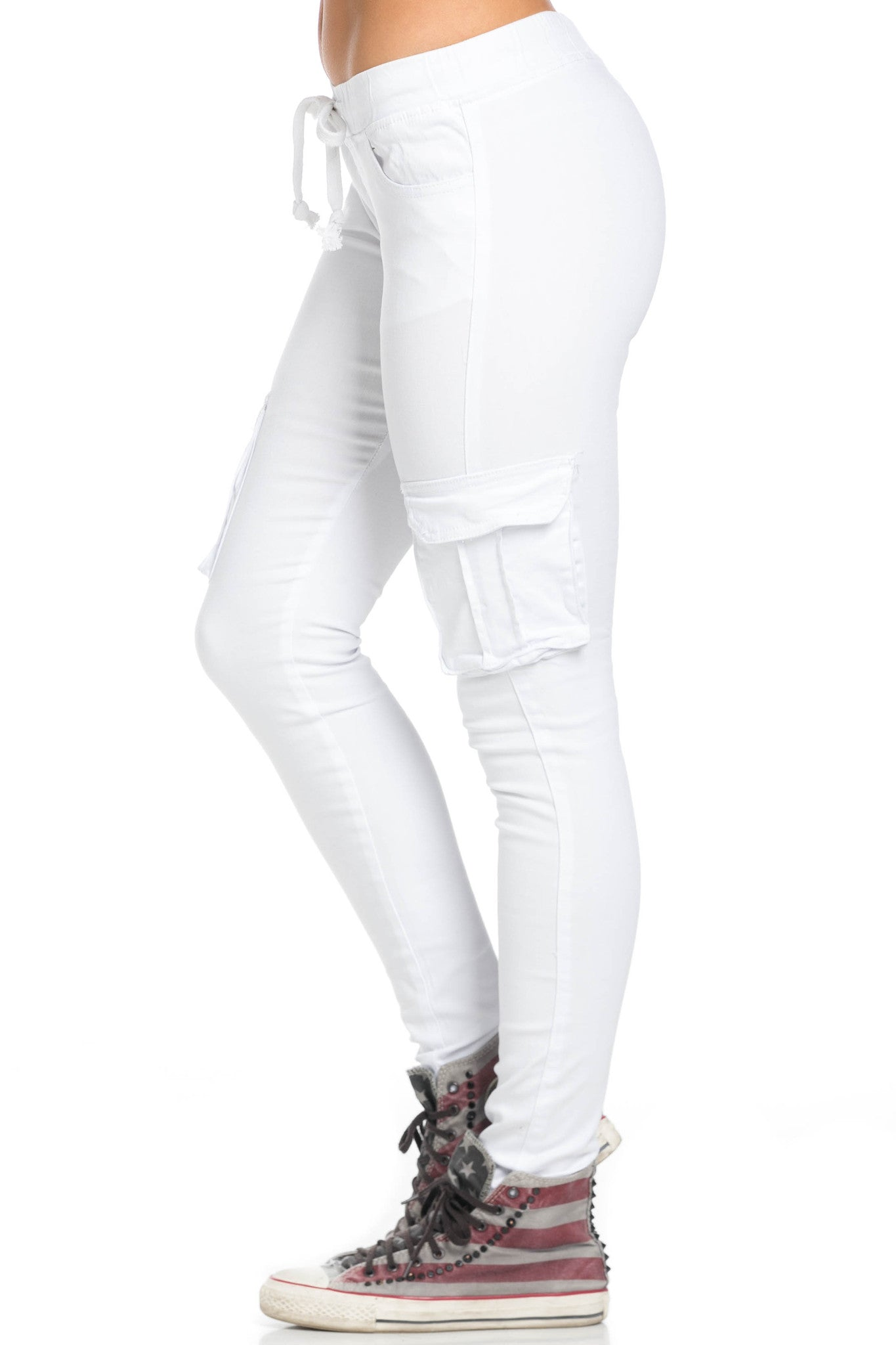Mid Rise Skinny White Cargo Pants - Pants - My Yuccie - 3