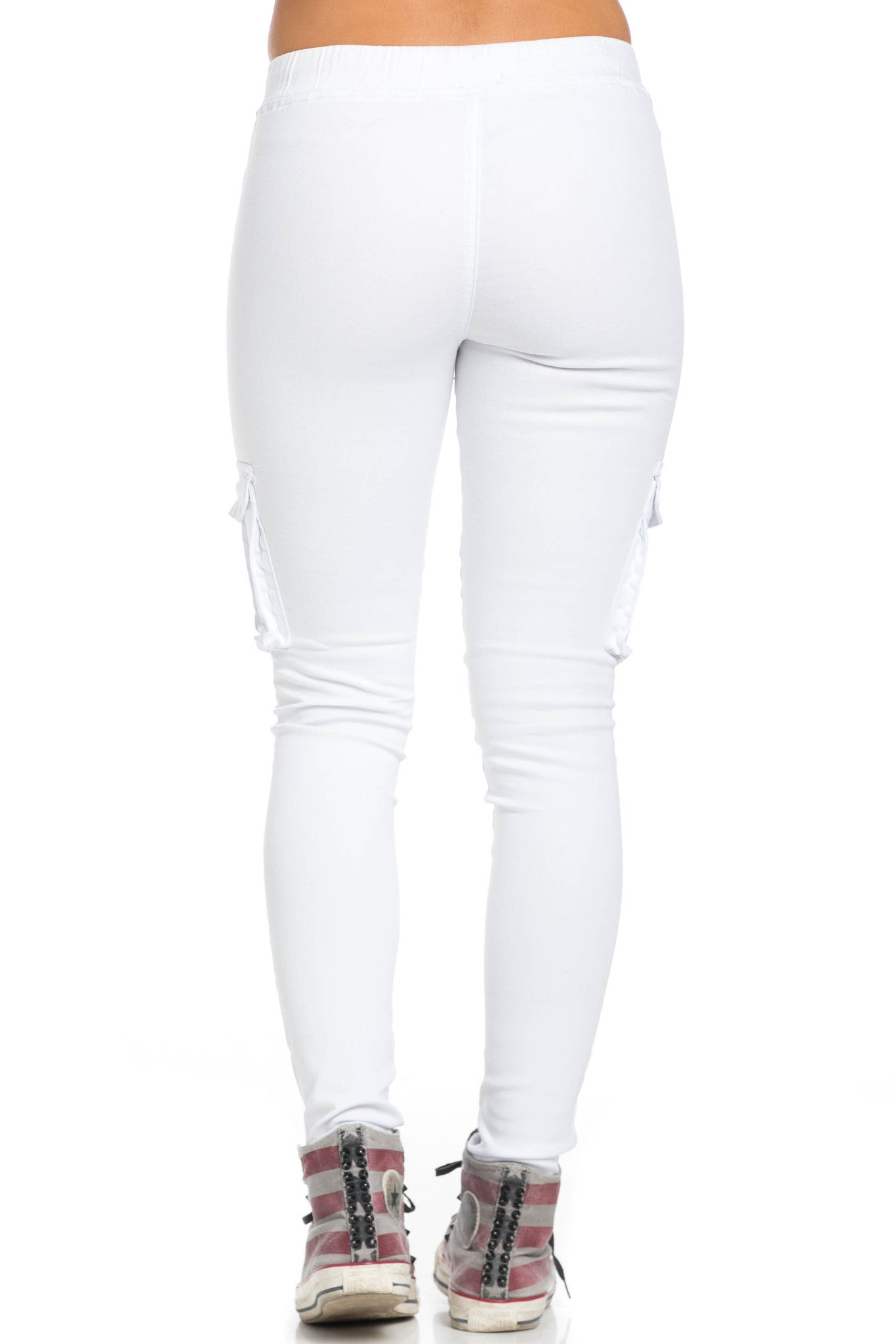 Mid Rise Skinny White Cargo Pants - Pants - My Yuccie - 4