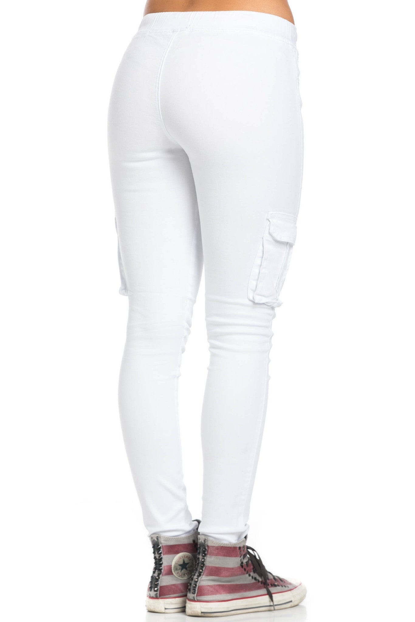 Mid Rise Skinny White Cargo Pants - Pants - My Yuccie - 5