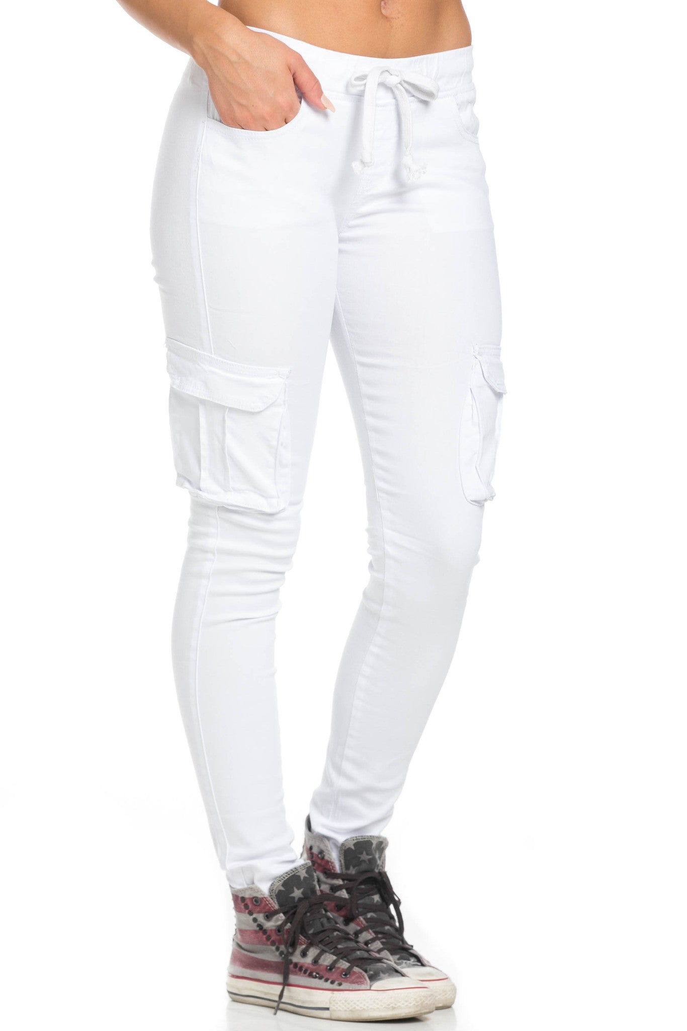 Mid Rise Skinny White Cargo Pants - Pants - My Yuccie - 6