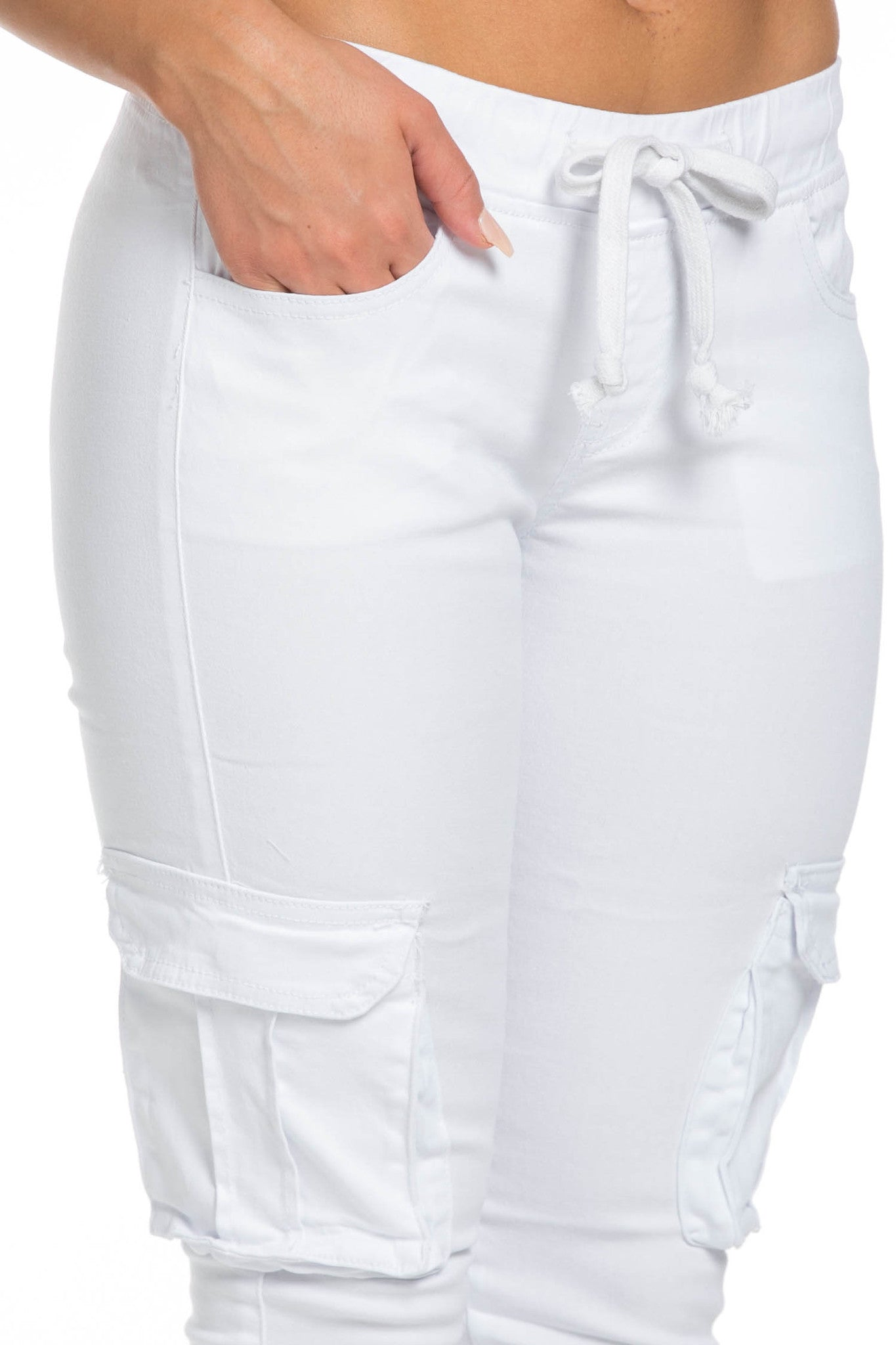 Mid Rise Skinny White Cargo Pants - Pants - My Yuccie - 7