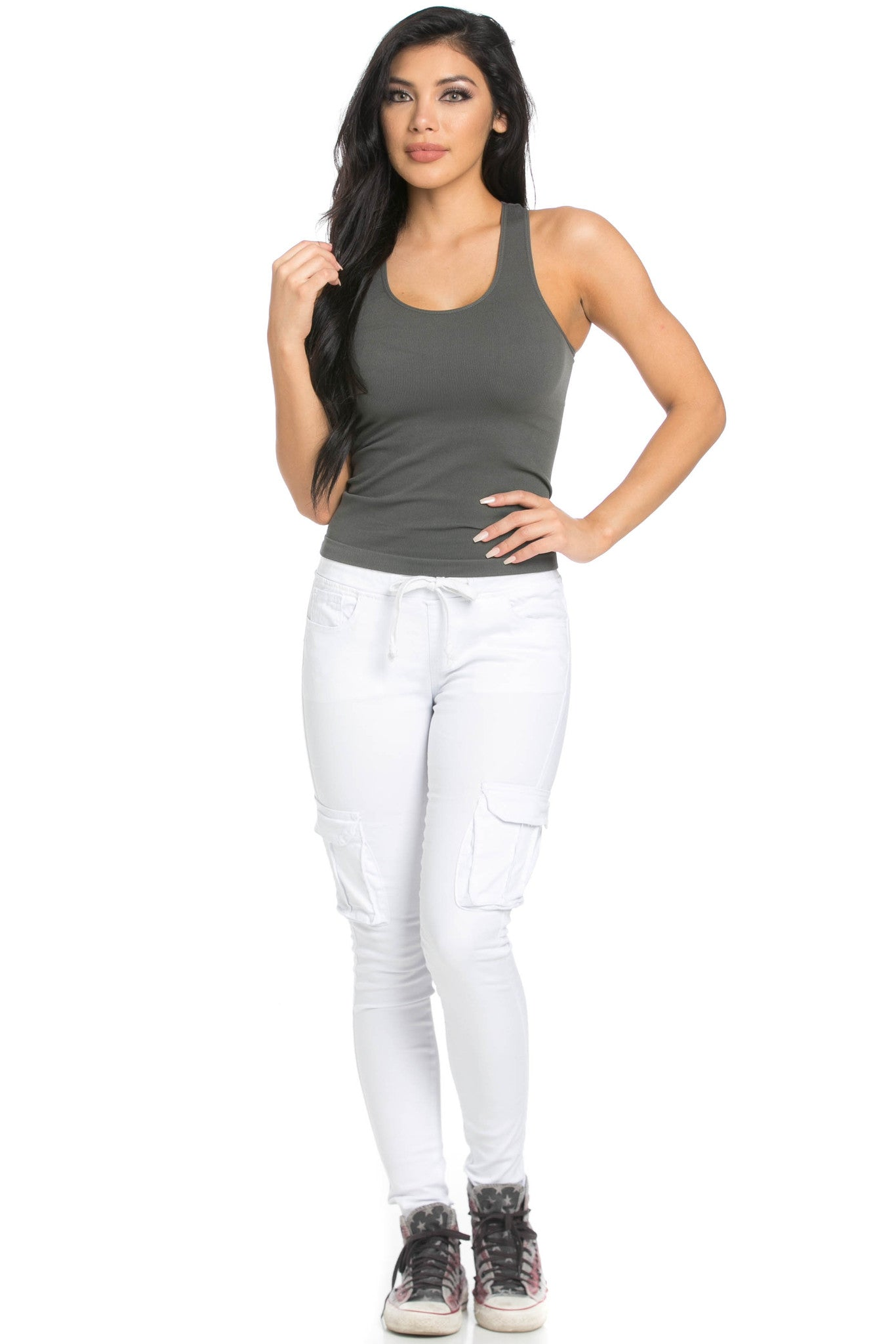 Mid Rise Skinny White Cargo Pants - Pants - My Yuccie - 8