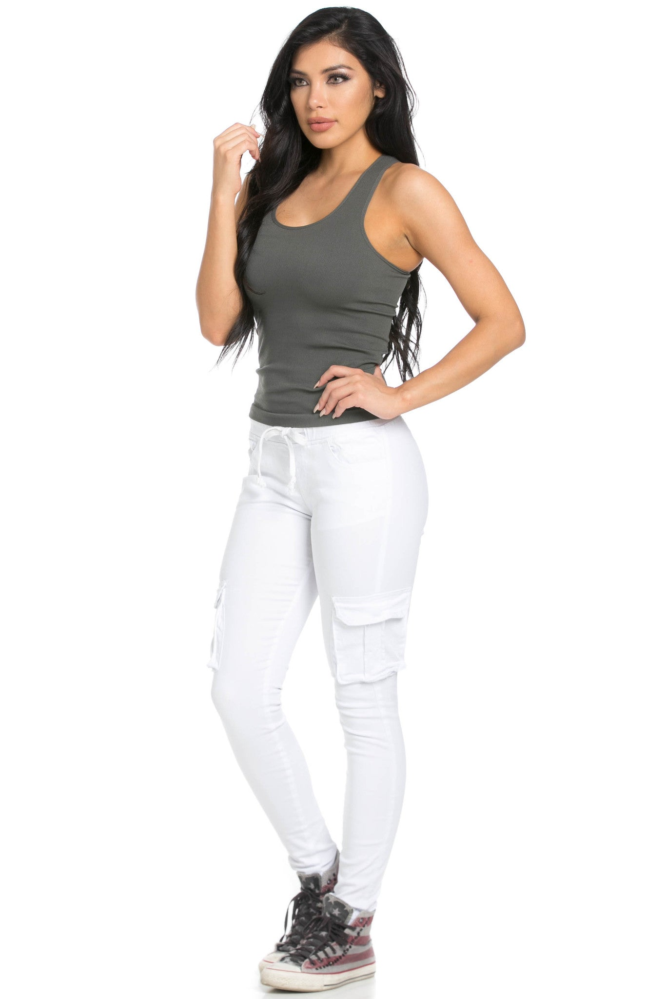 Mid Rise Skinny White Cargo Pants - Pants - My Yuccie - 9