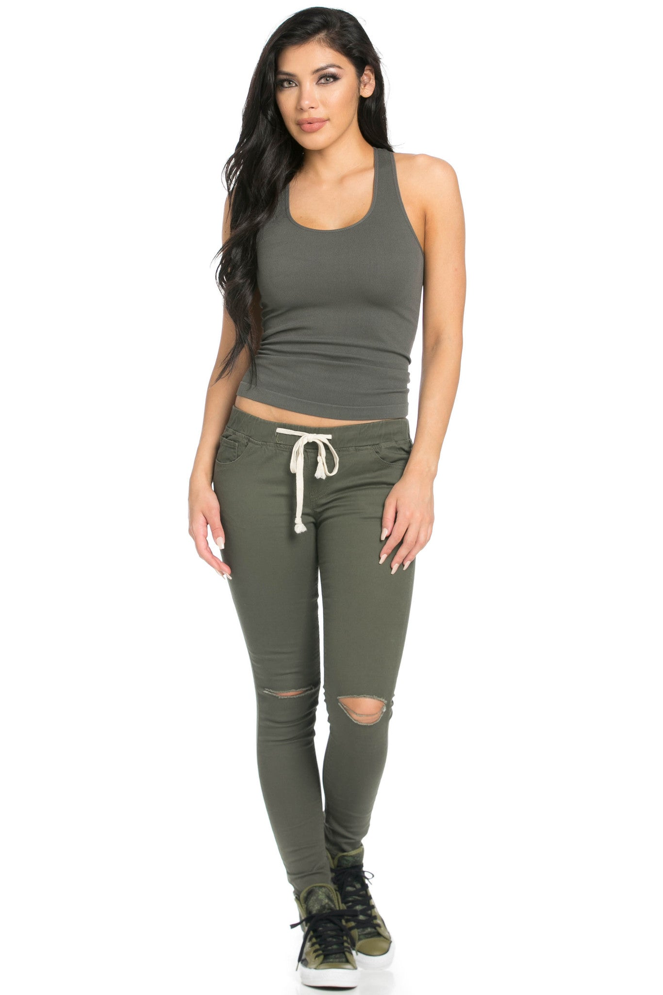 Destroyed Olive Skinny Jogger Jeans - Pants - My Yuccie - 8