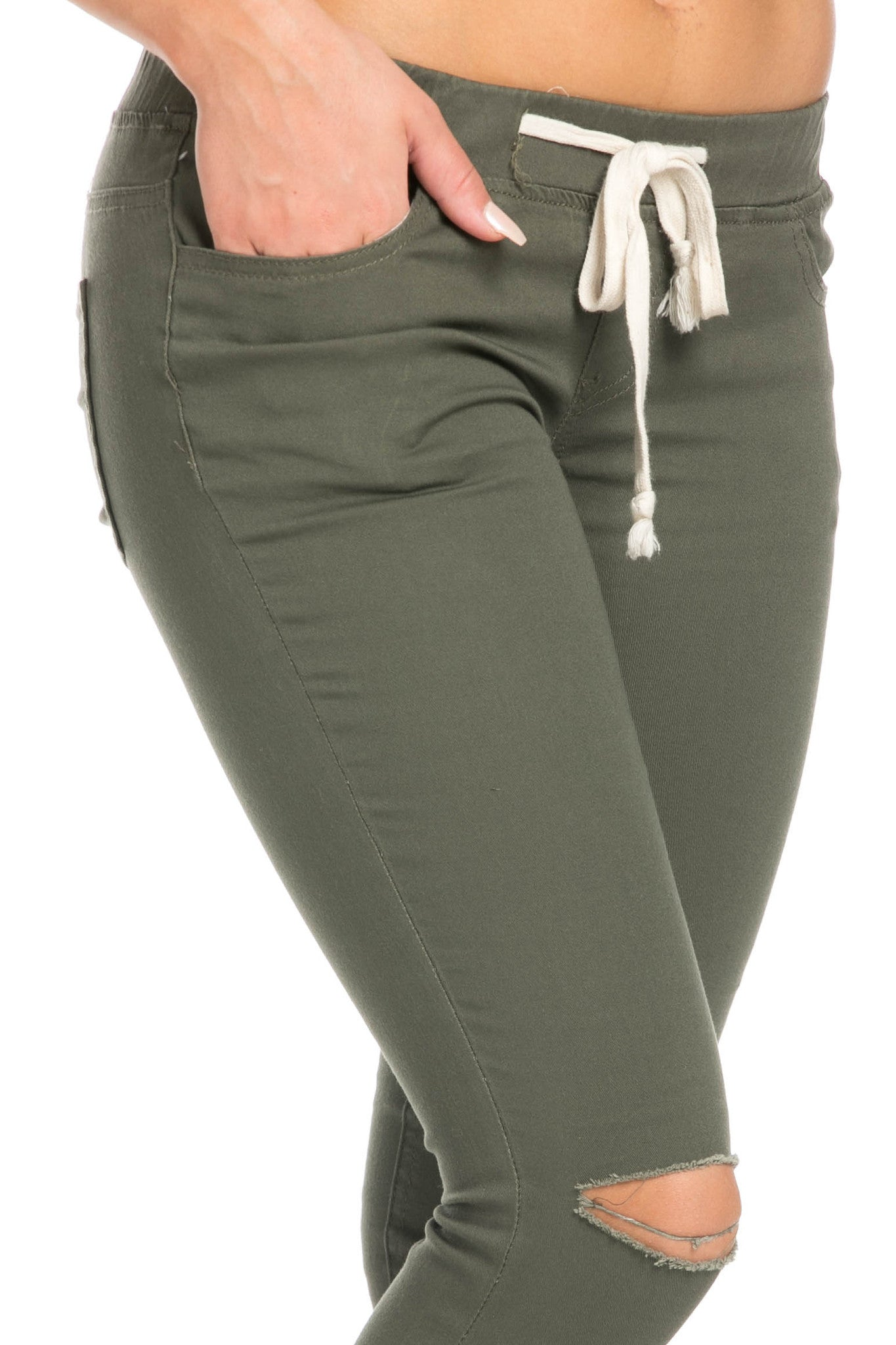 Destroyed Olive Skinny Jogger Jeans - Pants - My Yuccie - 7