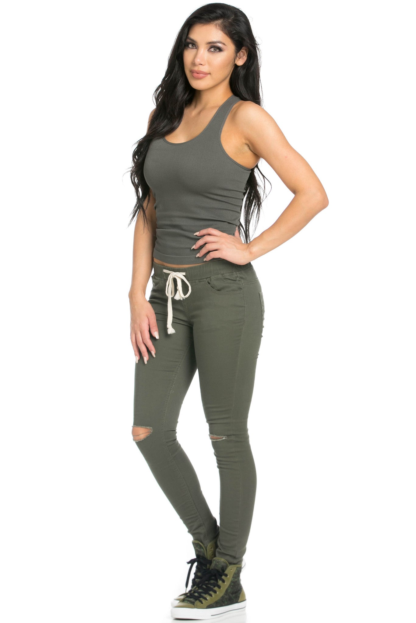 Destroyed Olive Skinny Jogger Jeans - Pants - My Yuccie - 9