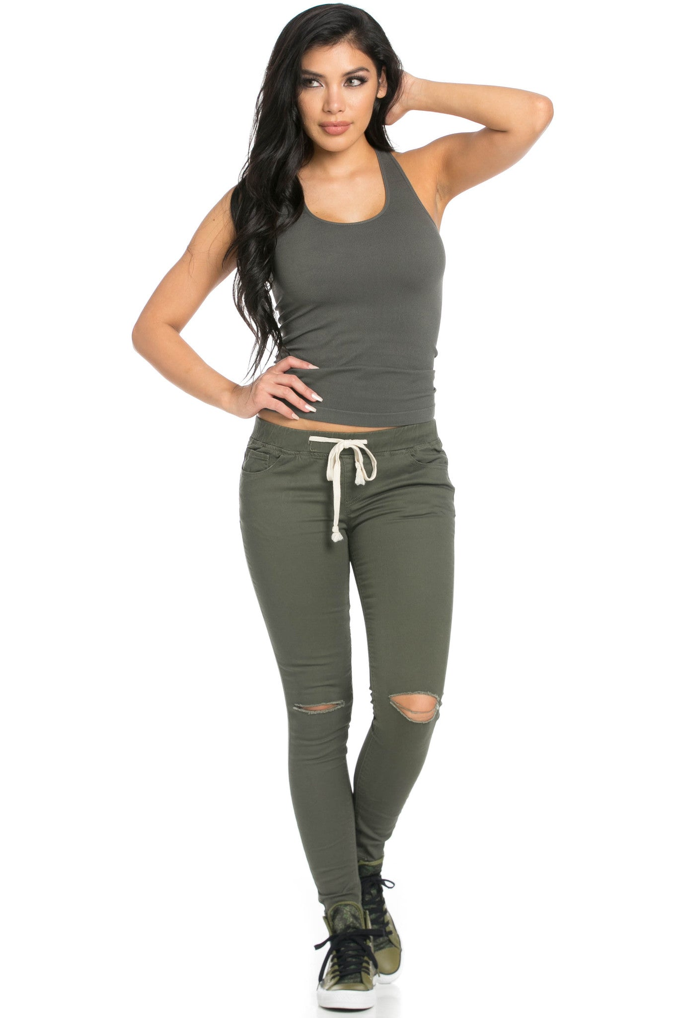 Destroyed Olive Skinny Jogger Jeans - Pants - My Yuccie - 10