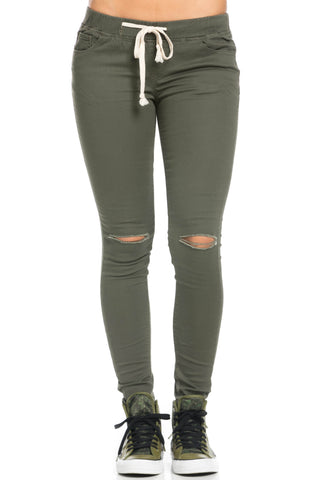 Destroyed Olive Skinny Jogger Jeans - Pants - My Yuccie - 1