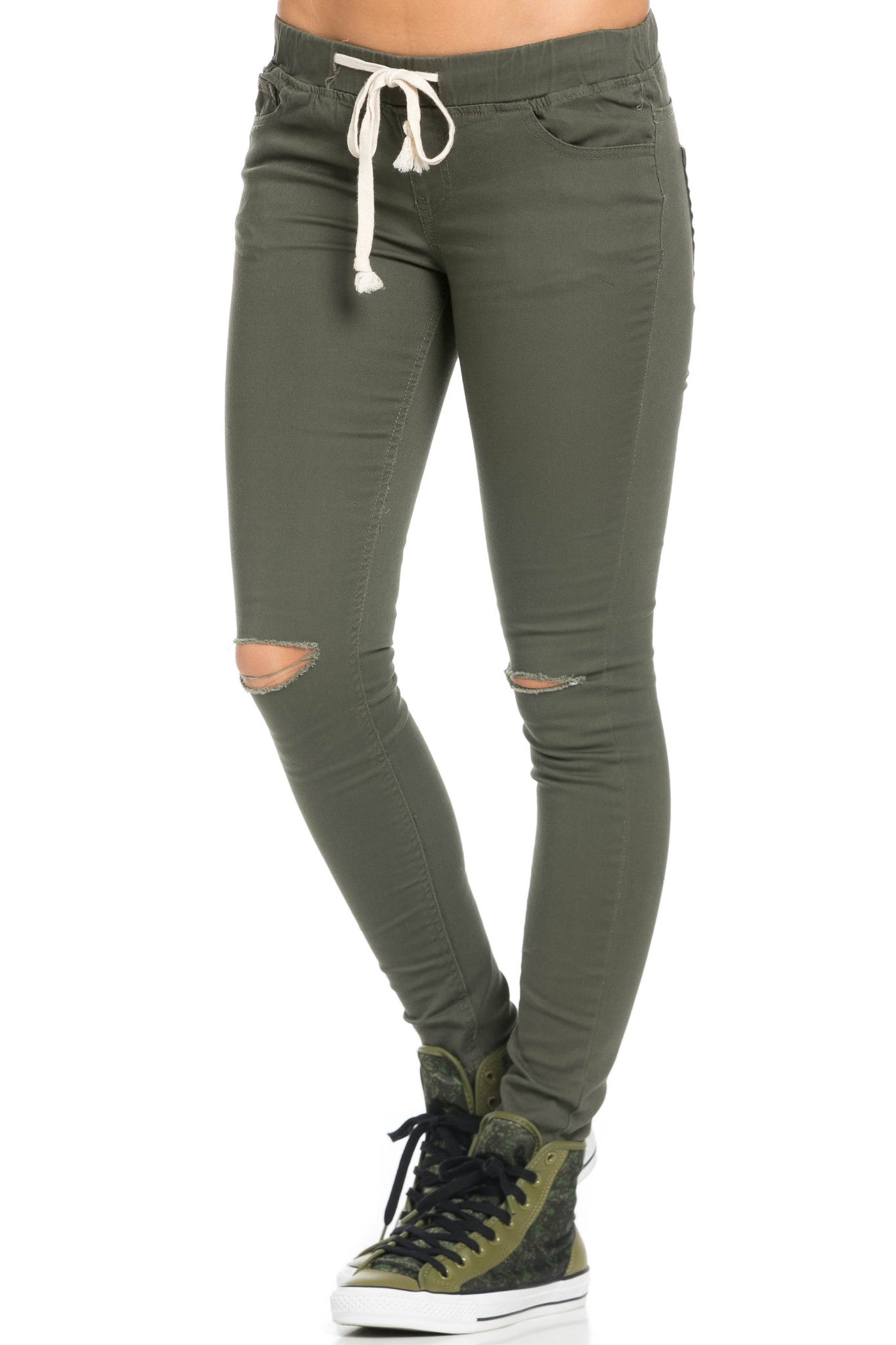 Destroyed Olive Skinny Jogger Jeans - Pants - My Yuccie - 2