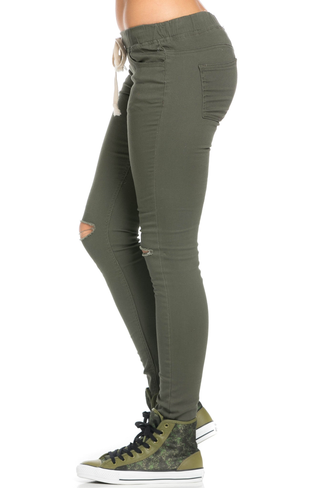 Destroyed Olive Skinny Jogger Jeans - Pants - My Yuccie - 3