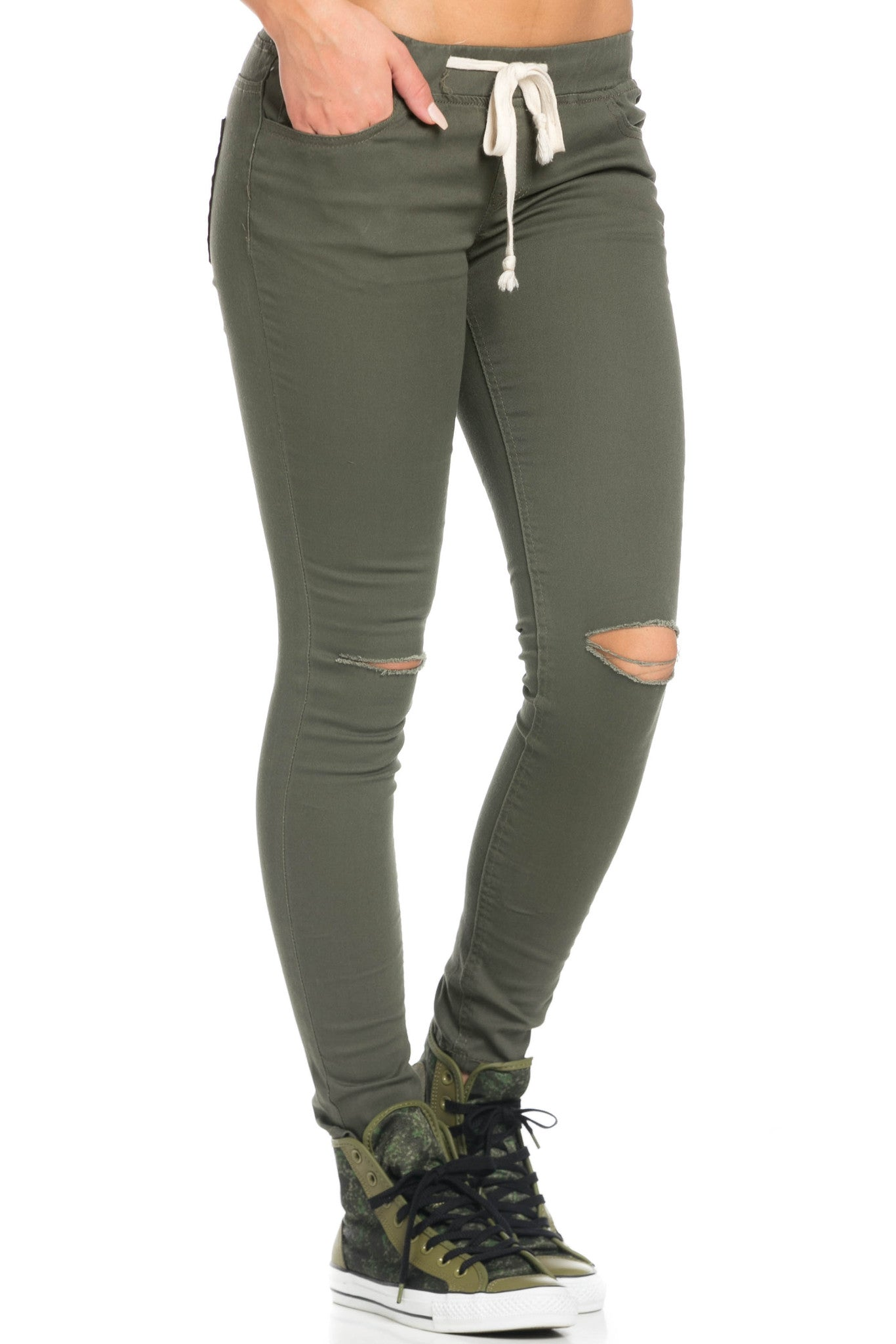 Destroyed Olive Skinny Jogger Jeans - Pants - My Yuccie - 6