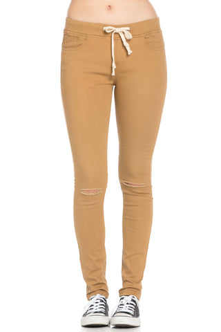 Destroyed Wheat Skinny Jogger Jeans - Pants - My Yuccie - 1