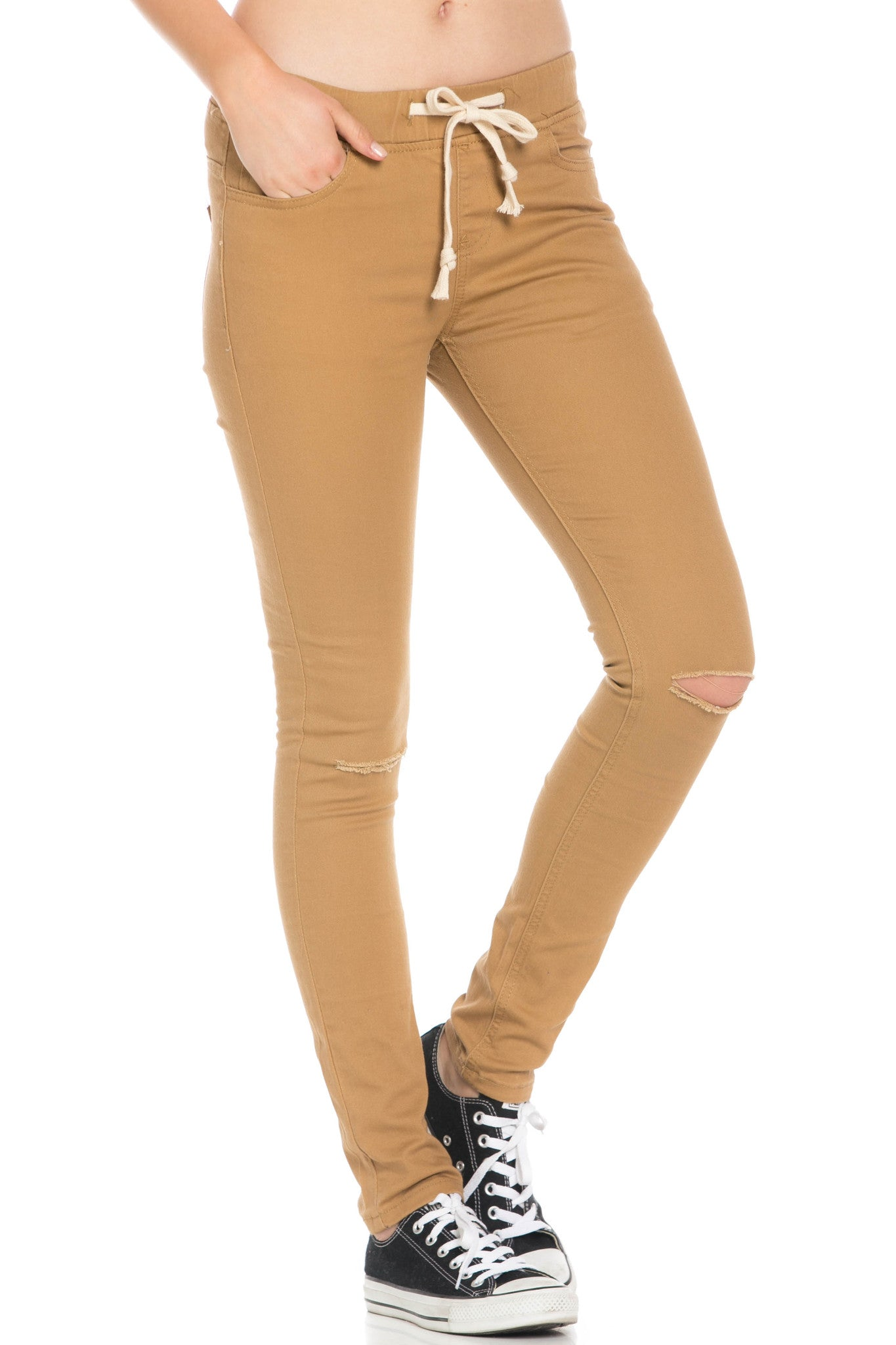Destroyed Wheat Skinny Jogger Jeans - Pants - My Yuccie - 6
