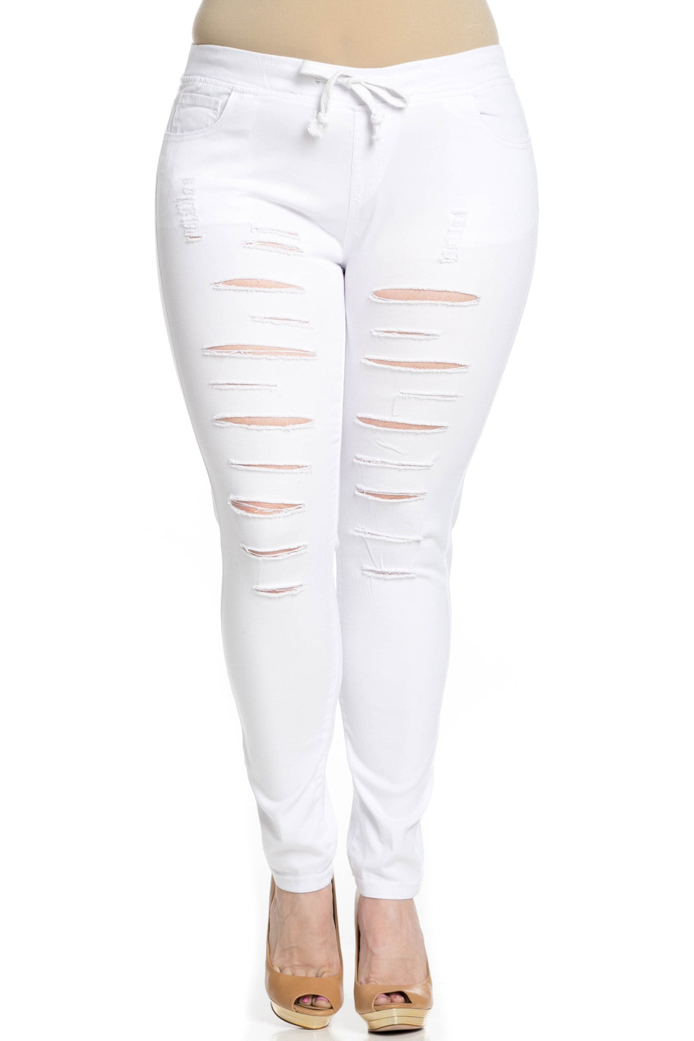 Distressed Skinny White Jogger Jeans - Pants - My Yuccie - 8