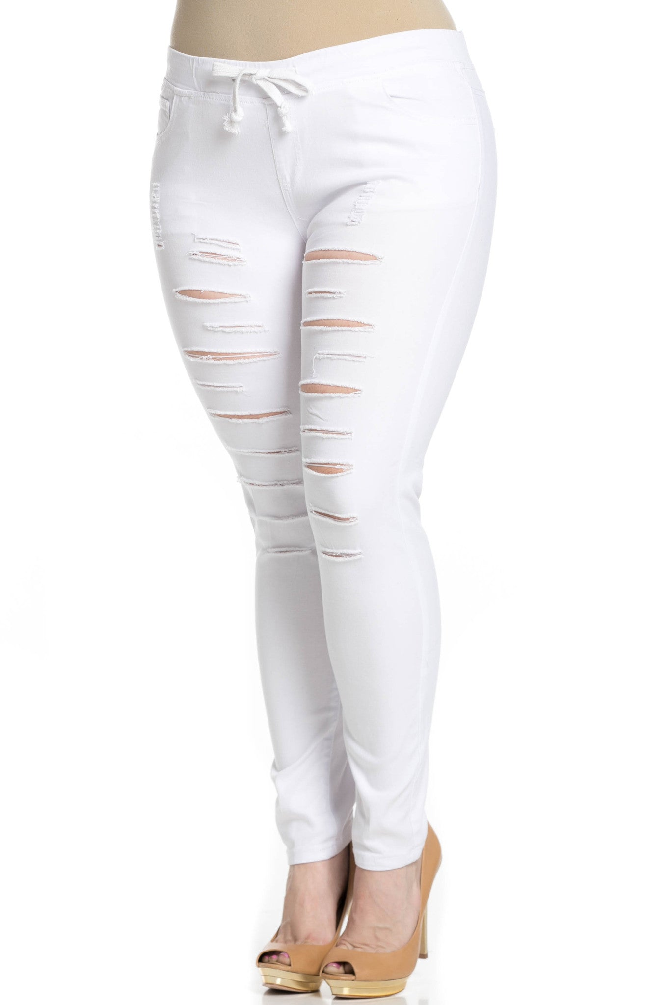 Distressed Skinny White Jogger Jeans - Pants - My Yuccie - 9