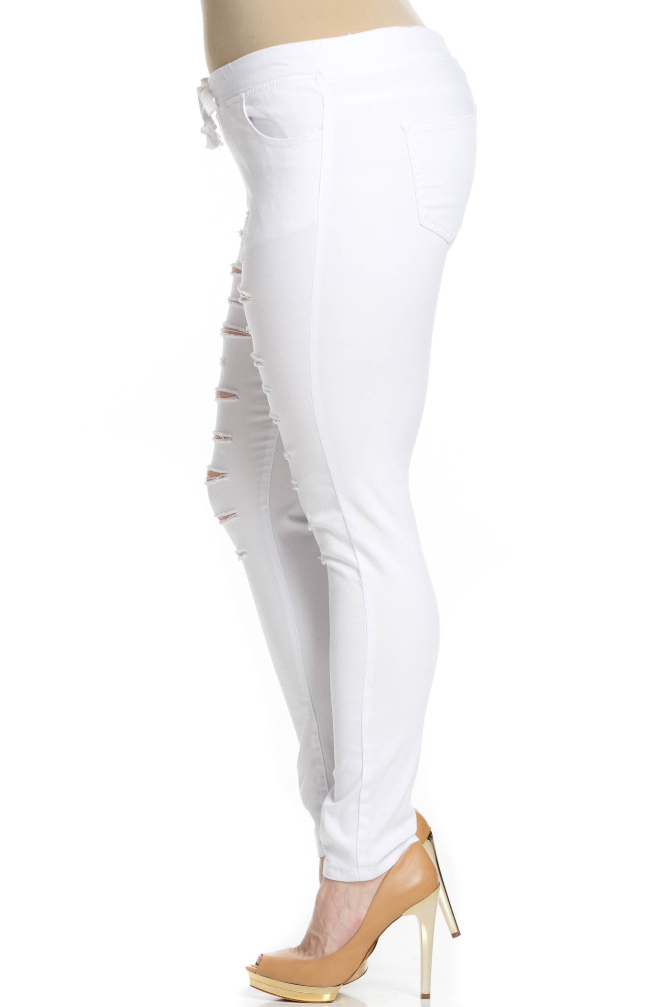 Distressed Skinny White Jogger Jeans - Pants - My Yuccie - 10