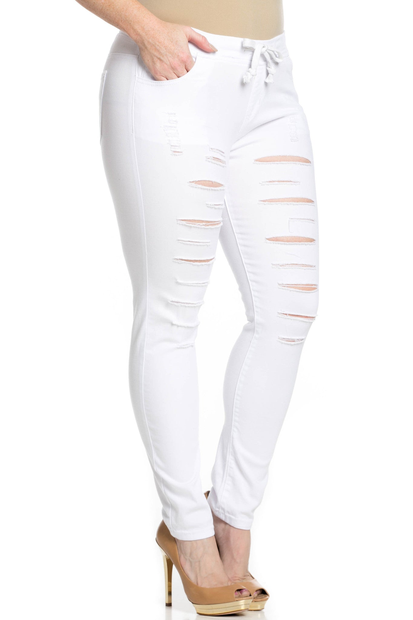 Distressed Skinny White Jogger Jeans - Pants - My Yuccie - 12