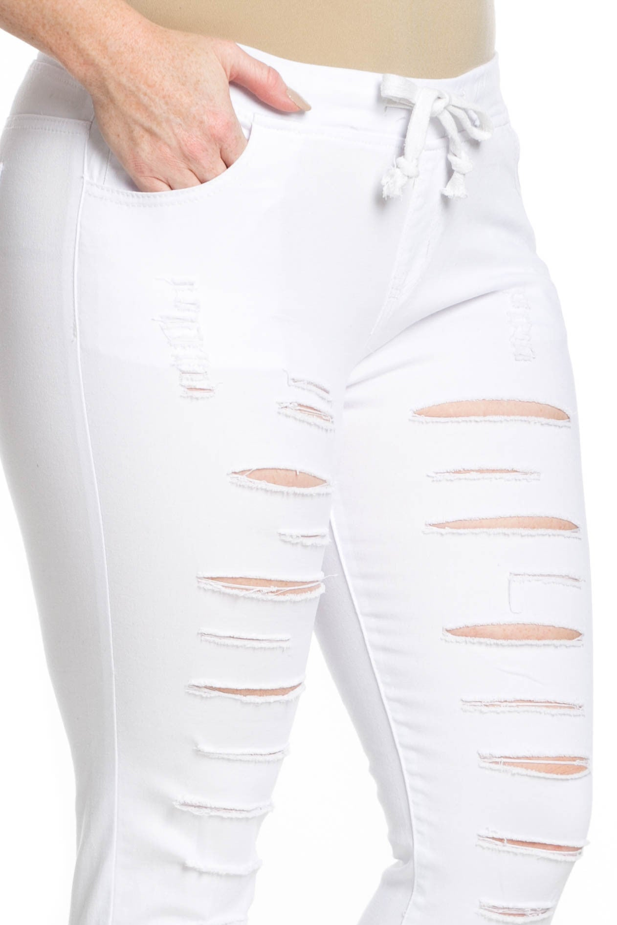 Distressed Skinny White Jogger Jeans - Pants - My Yuccie - 13