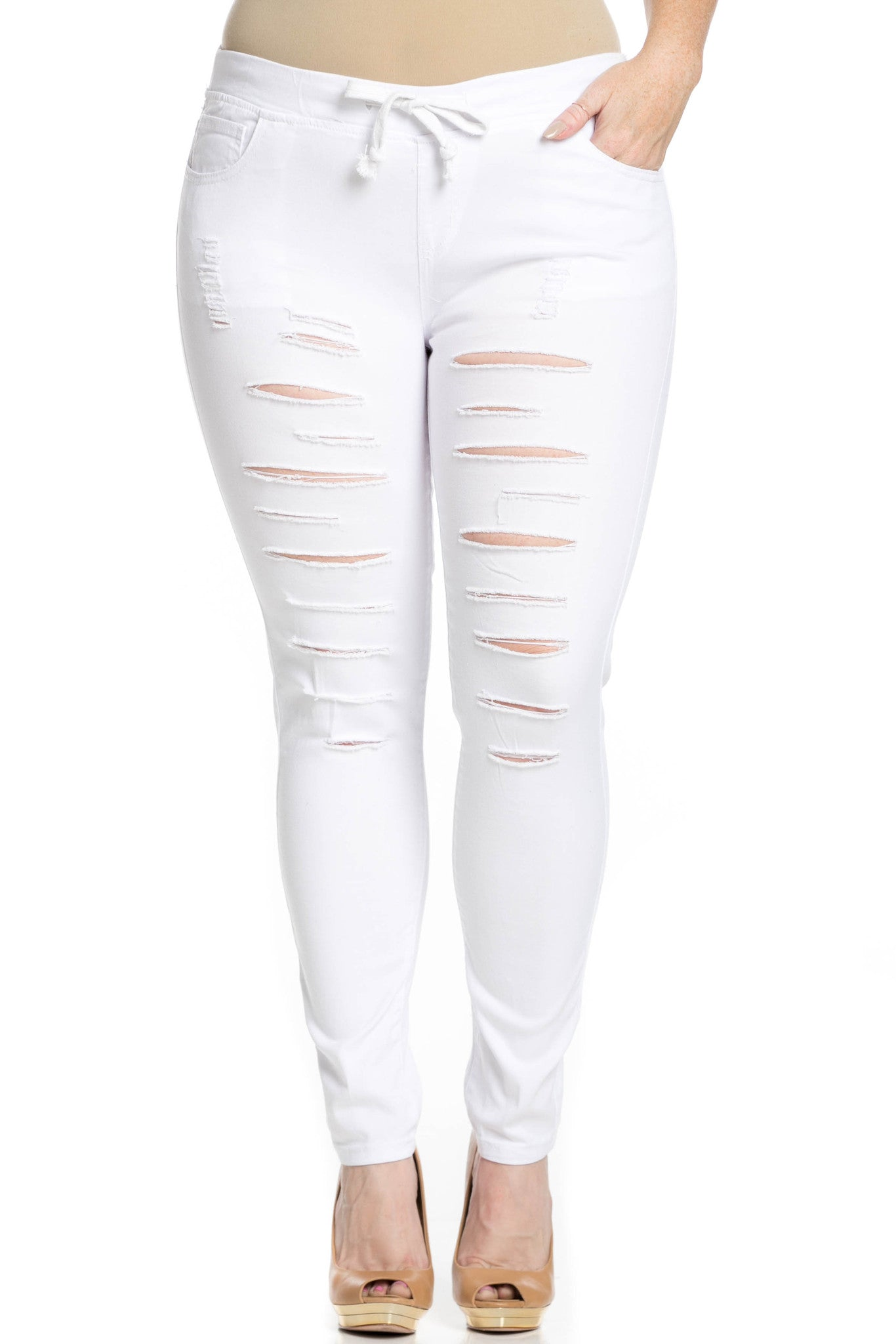 Distressed Skinny White Jogger Jeans - Pants - My Yuccie - 14