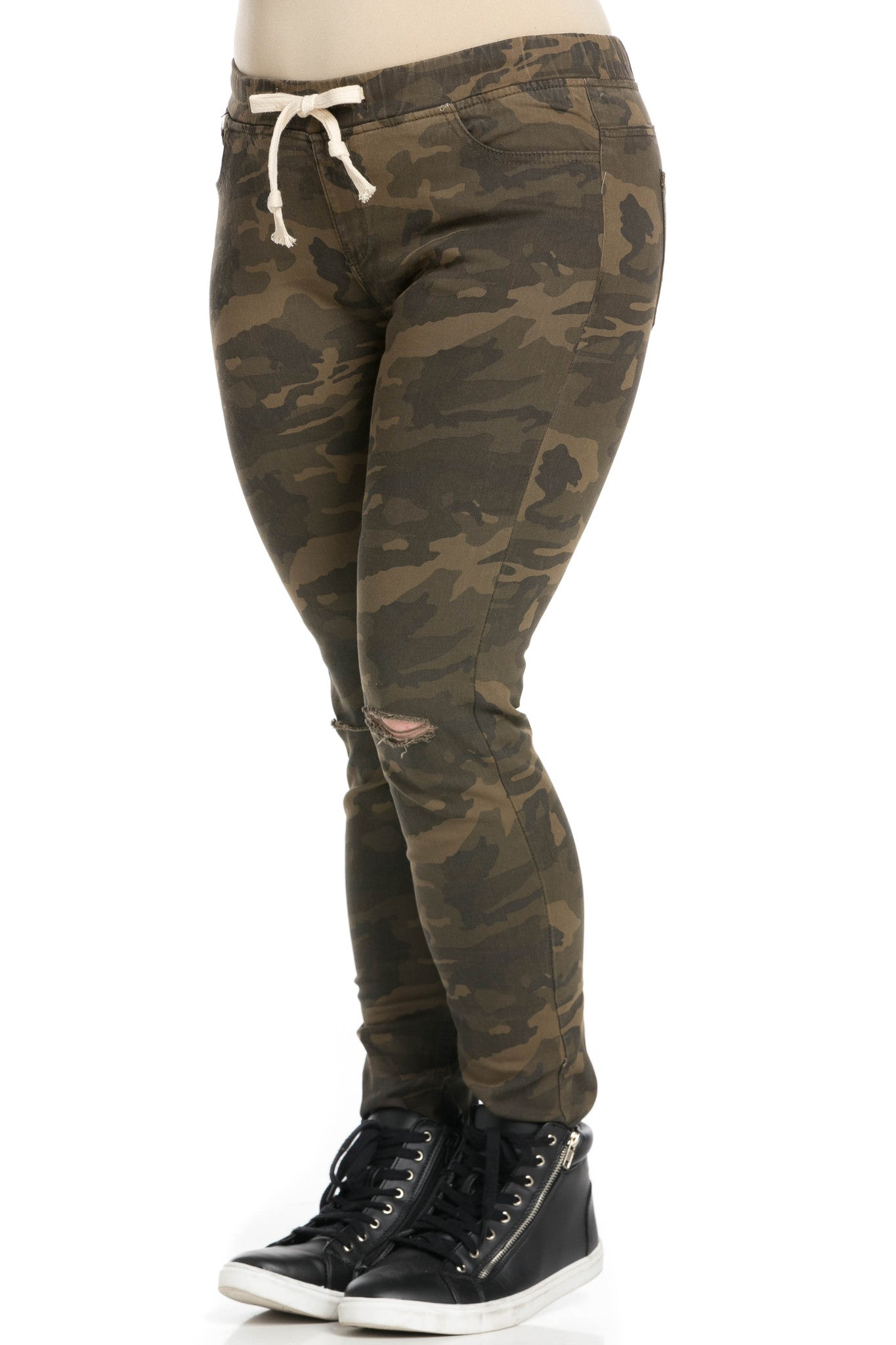 Destroyed Camouflage Skinny Jogger Jeans - Pants - My Yuccie - 8