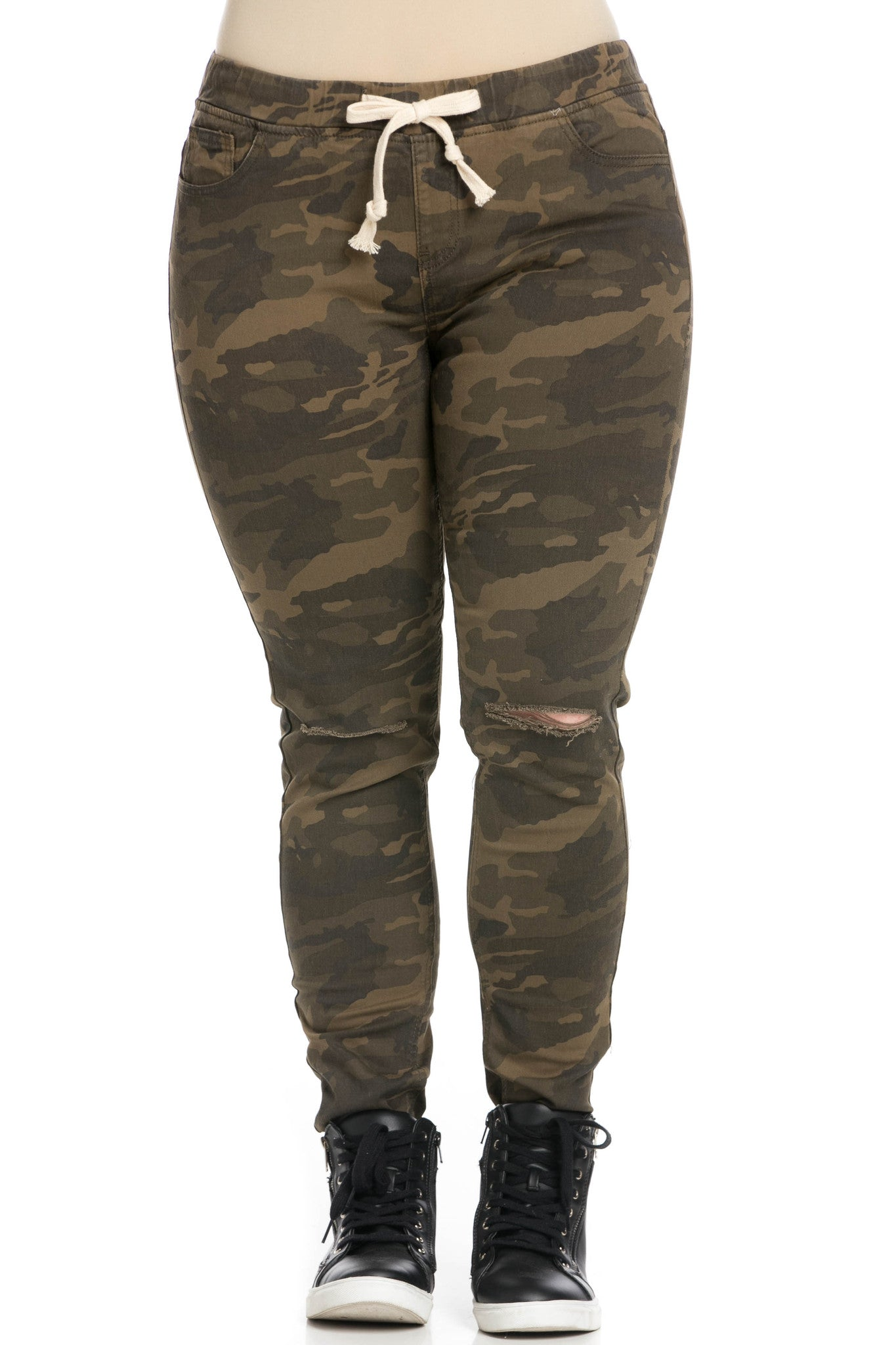 OLIVE GREEN CAMO JOGGERS Camouflage Track Pants Drawstring PLUS SIZE 1X 2X 3X