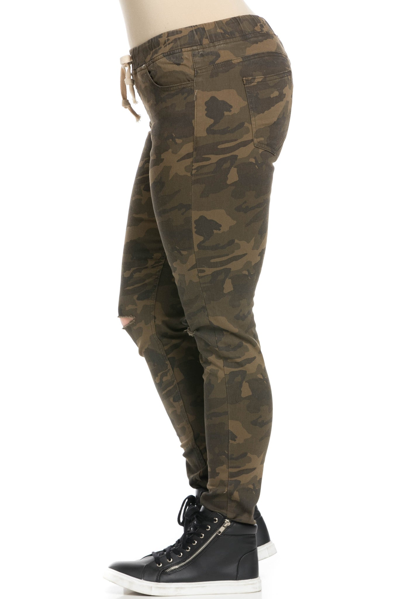 Destroyed Camouflage Skinny Jogger Jeans - Pants - My Yuccie - 9