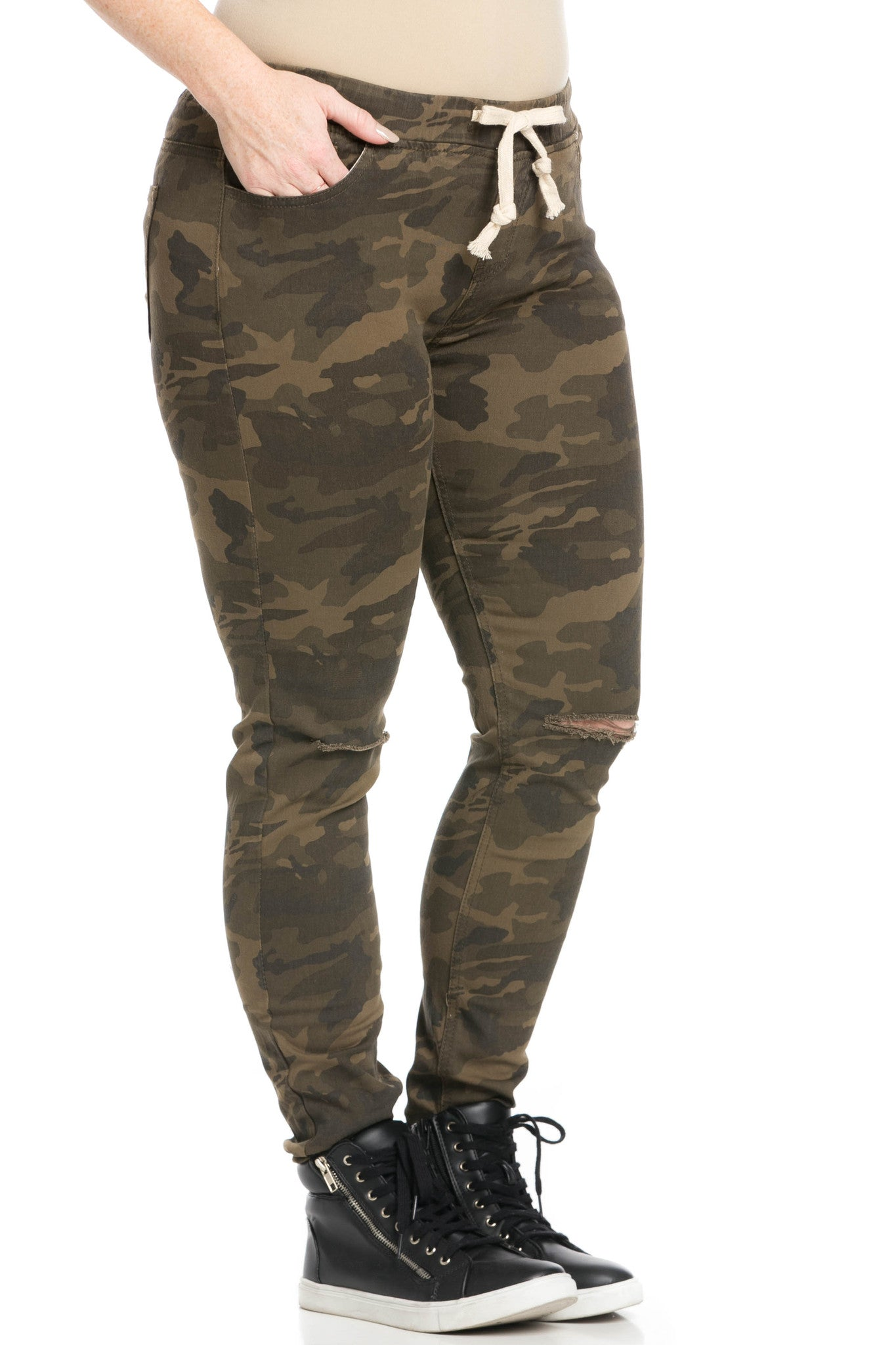 Destroyed Camouflage Skinny Jogger Jeans - Pants - My Yuccie - 11