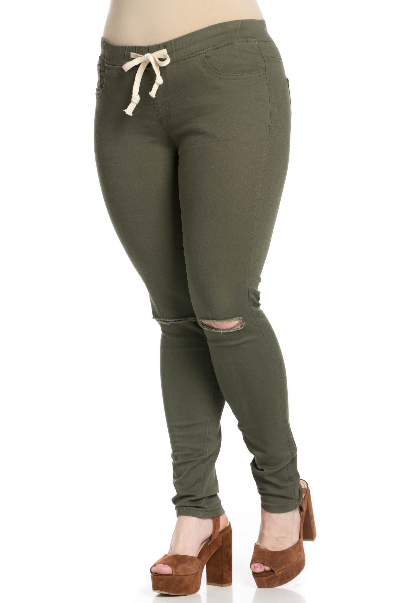 Destroyed Olive Skinny Jogger Jeans - Pants - My Yuccie - 11