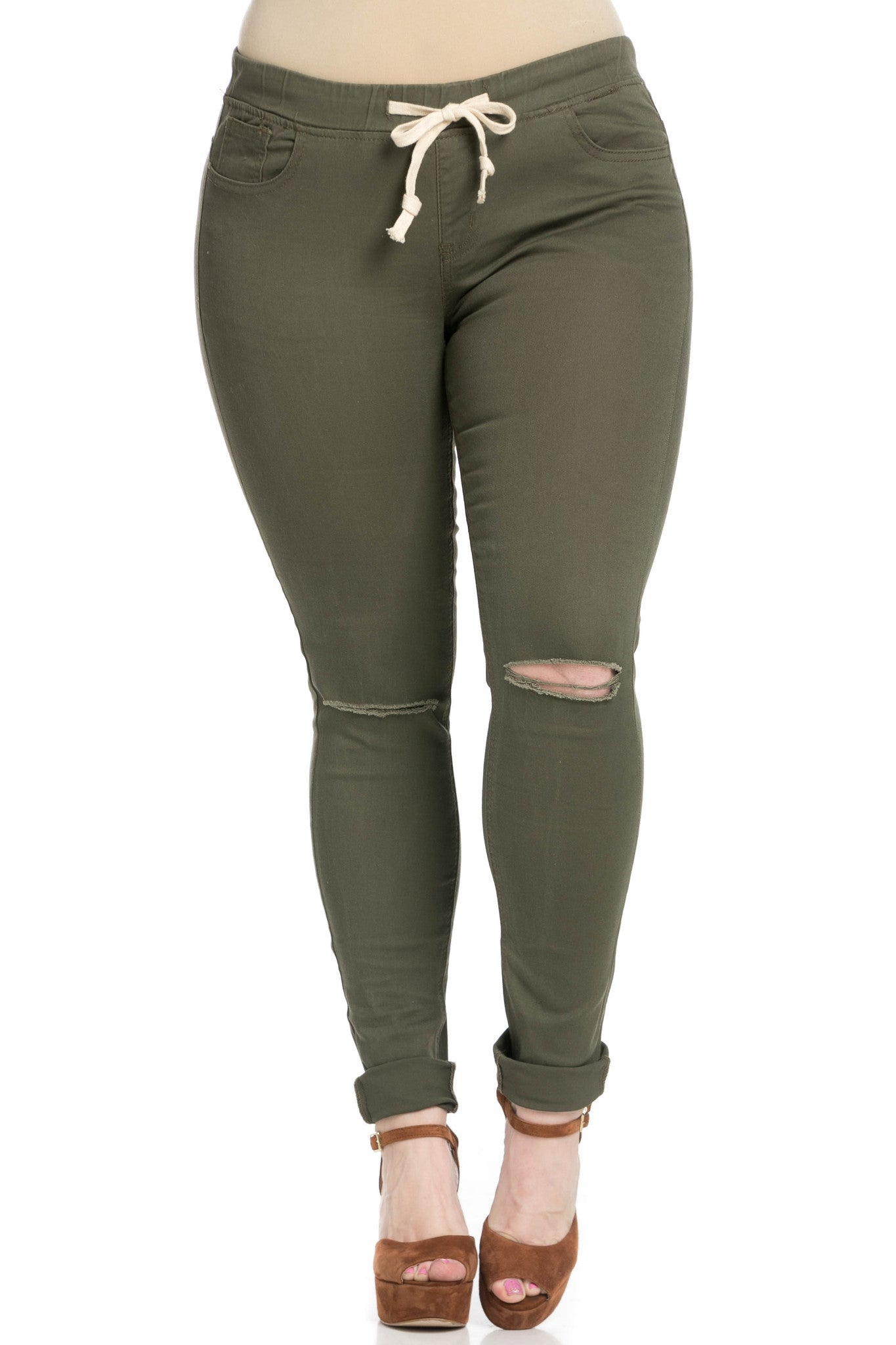 Destroyed Olive Skinny Jogger Jeans - Pants - My Yuccie - 12