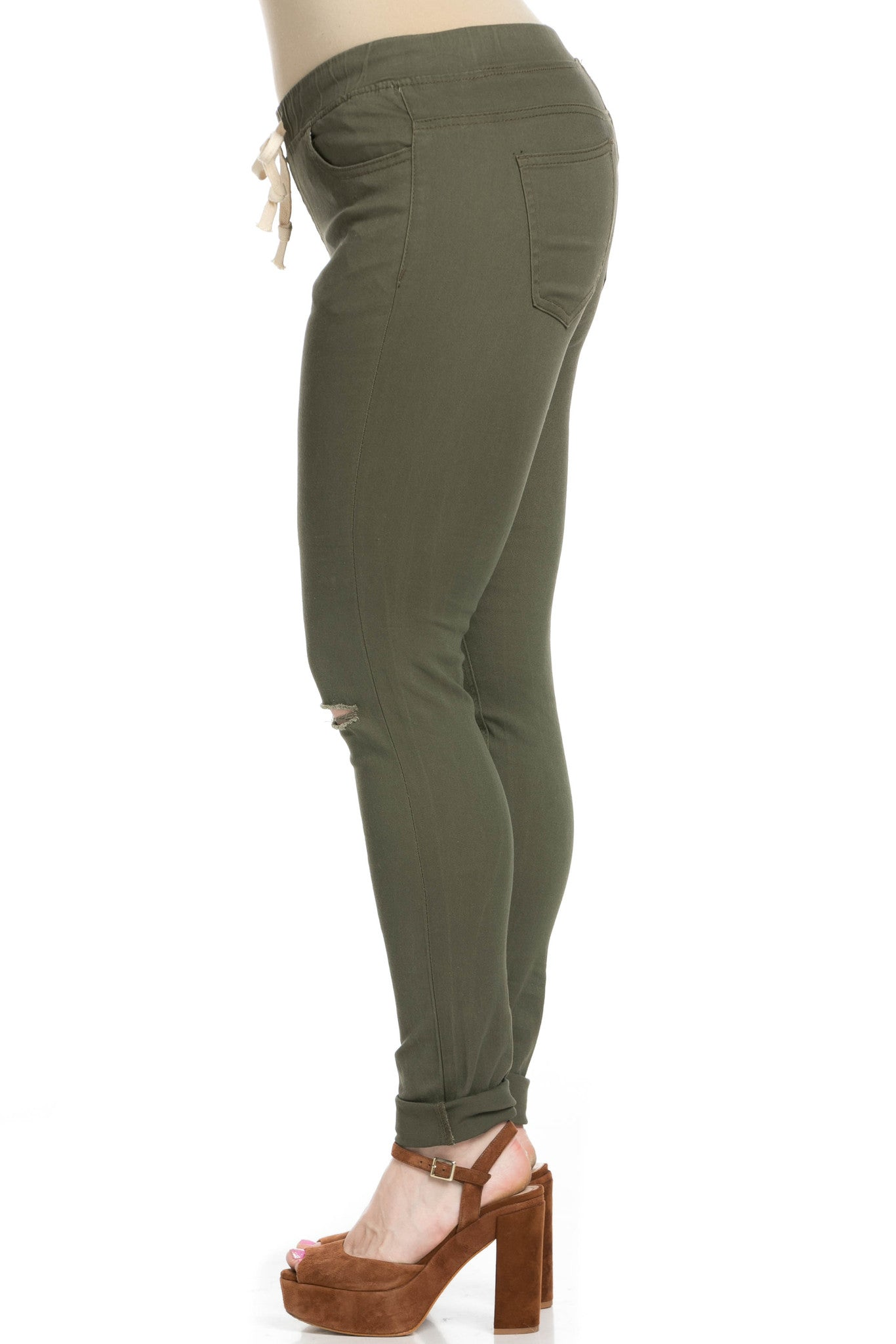 Destroyed Olive Skinny Jogger Jeans - Pants - My Yuccie - 14