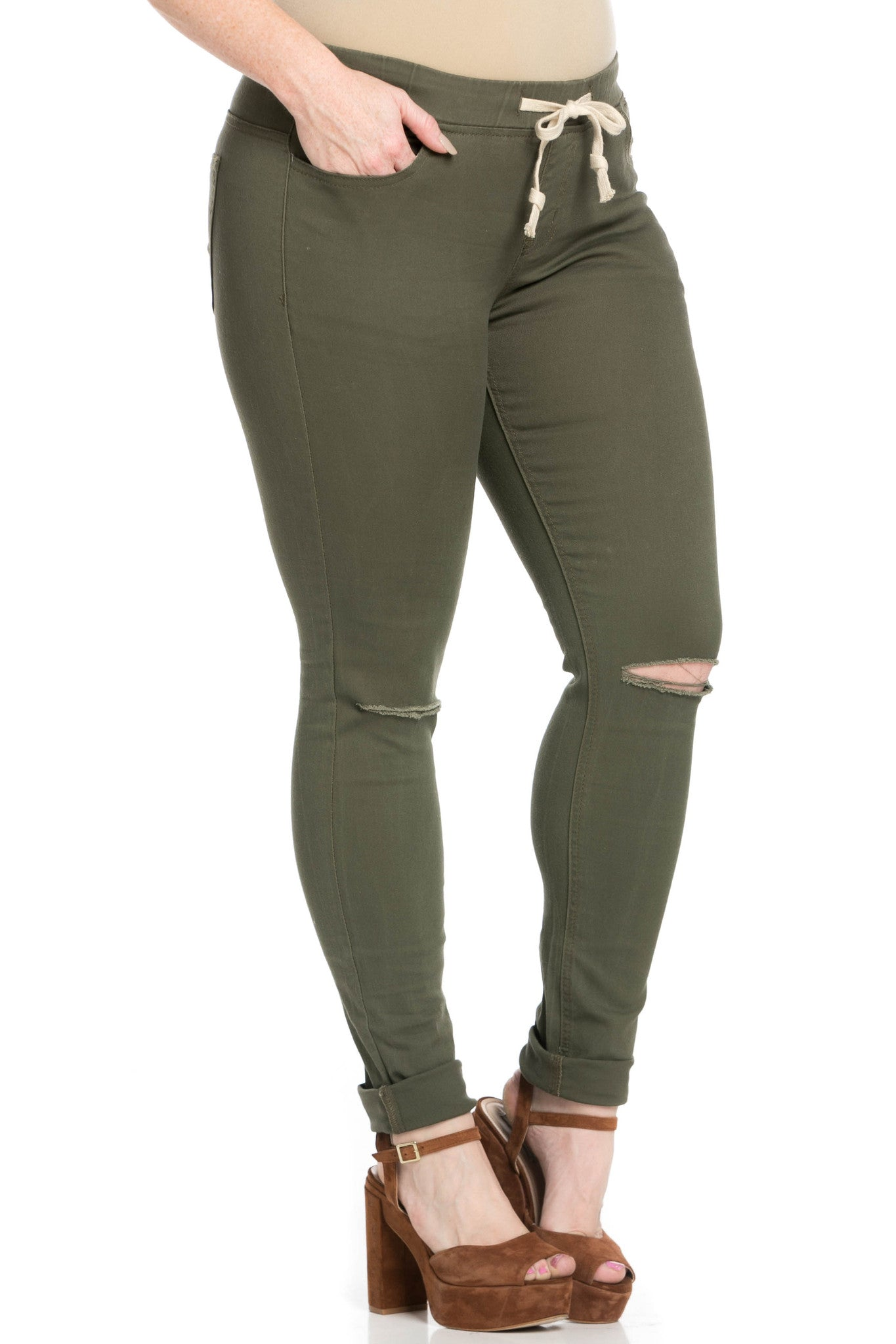 Destroyed Olive Skinny Jogger Jeans - Pants - My Yuccie - 16