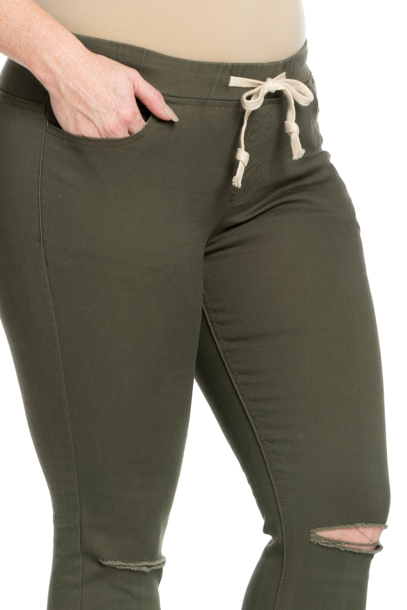 Destroyed Olive Skinny Jogger Jeans - Pants - My Yuccie - 17