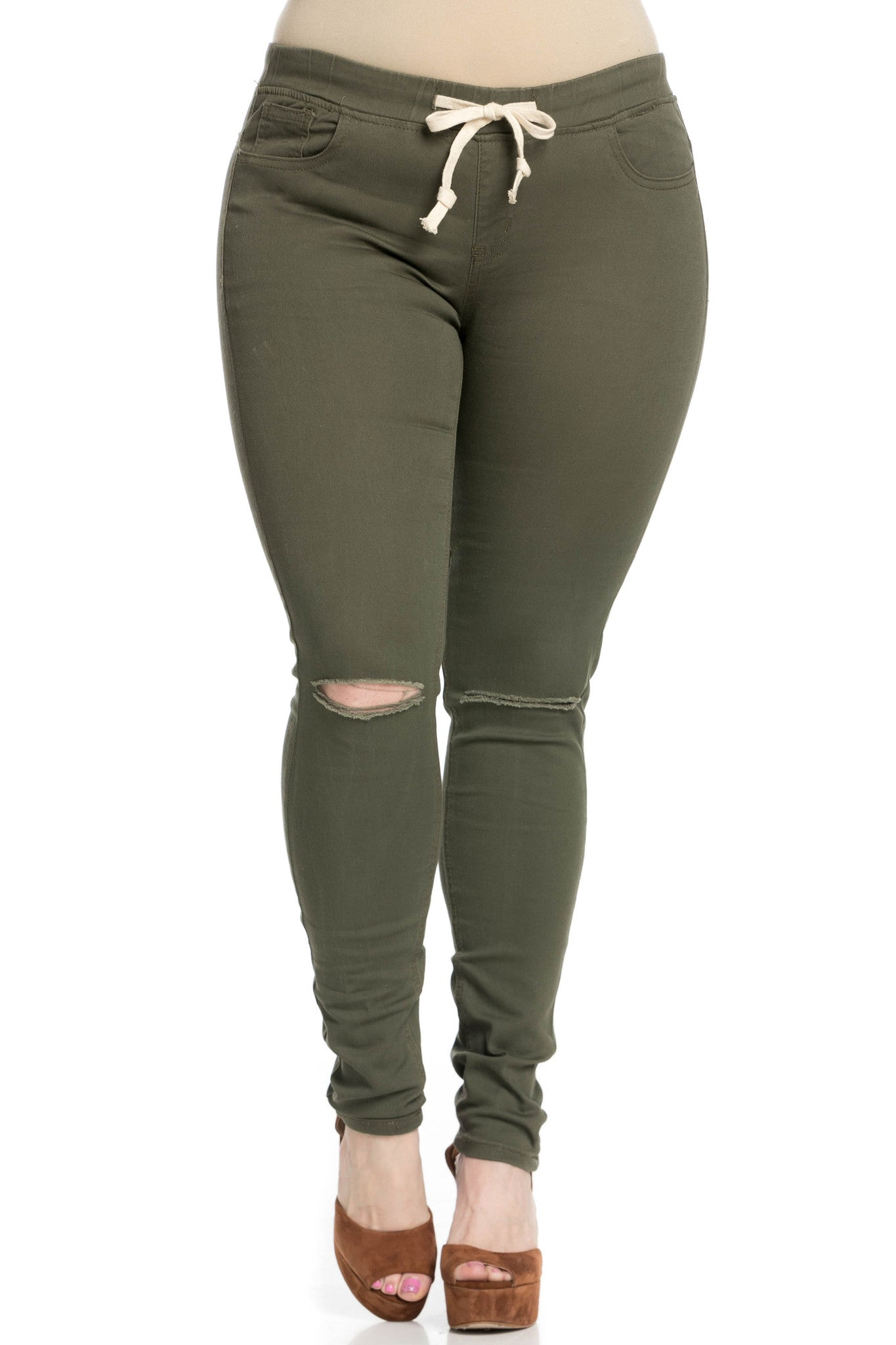 Destroyed Olive Skinny Jogger Jeans - Pants - My Yuccie - 18