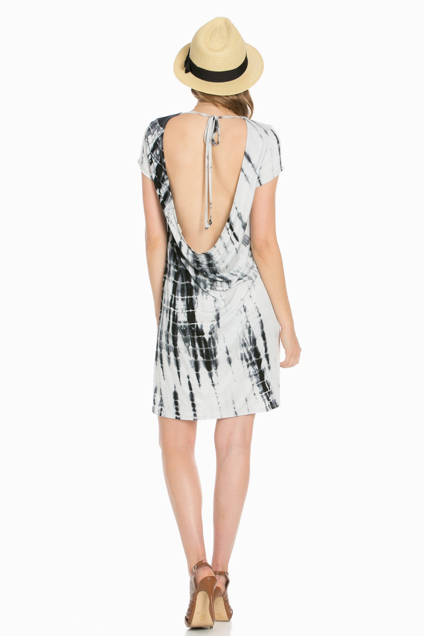 Open Back Black Tie Dye Dress - Dresses - My Yuccie - 4
