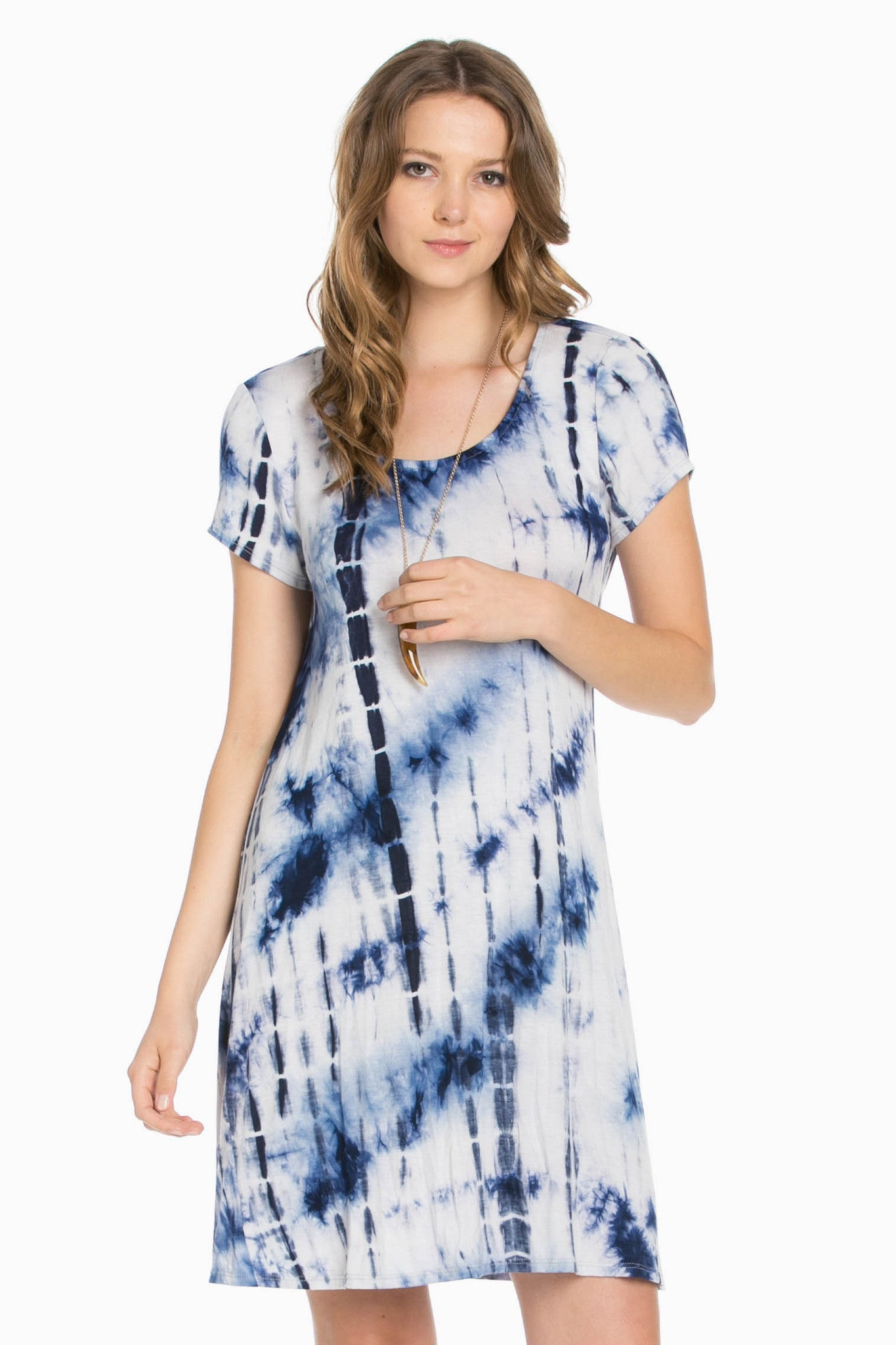 Open Back Blue Tie Dye Dress - Dresses - My Yuccie - 1