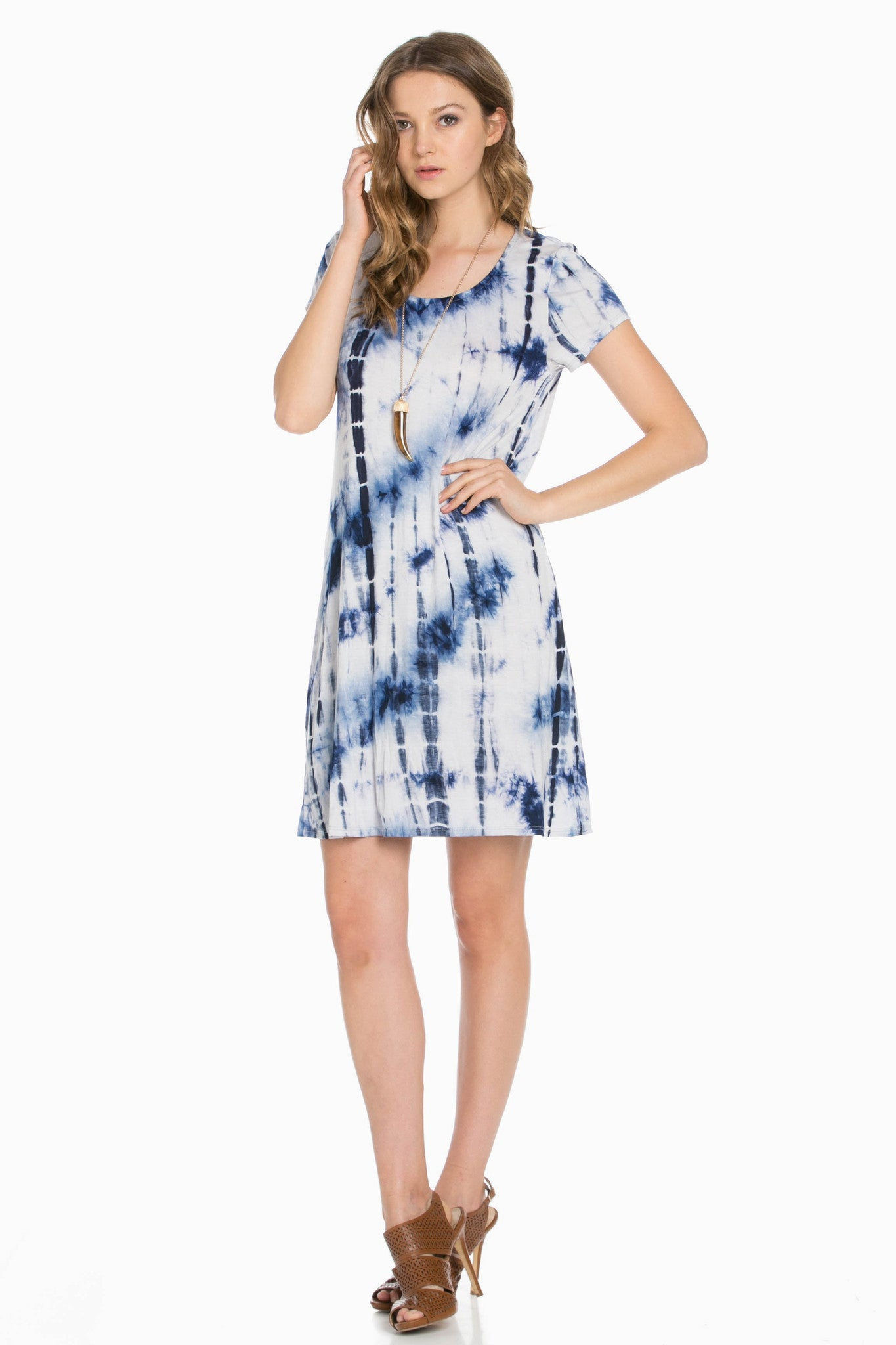 Open Back Blue Tie Dye Dress - Dresses - My Yuccie - 3