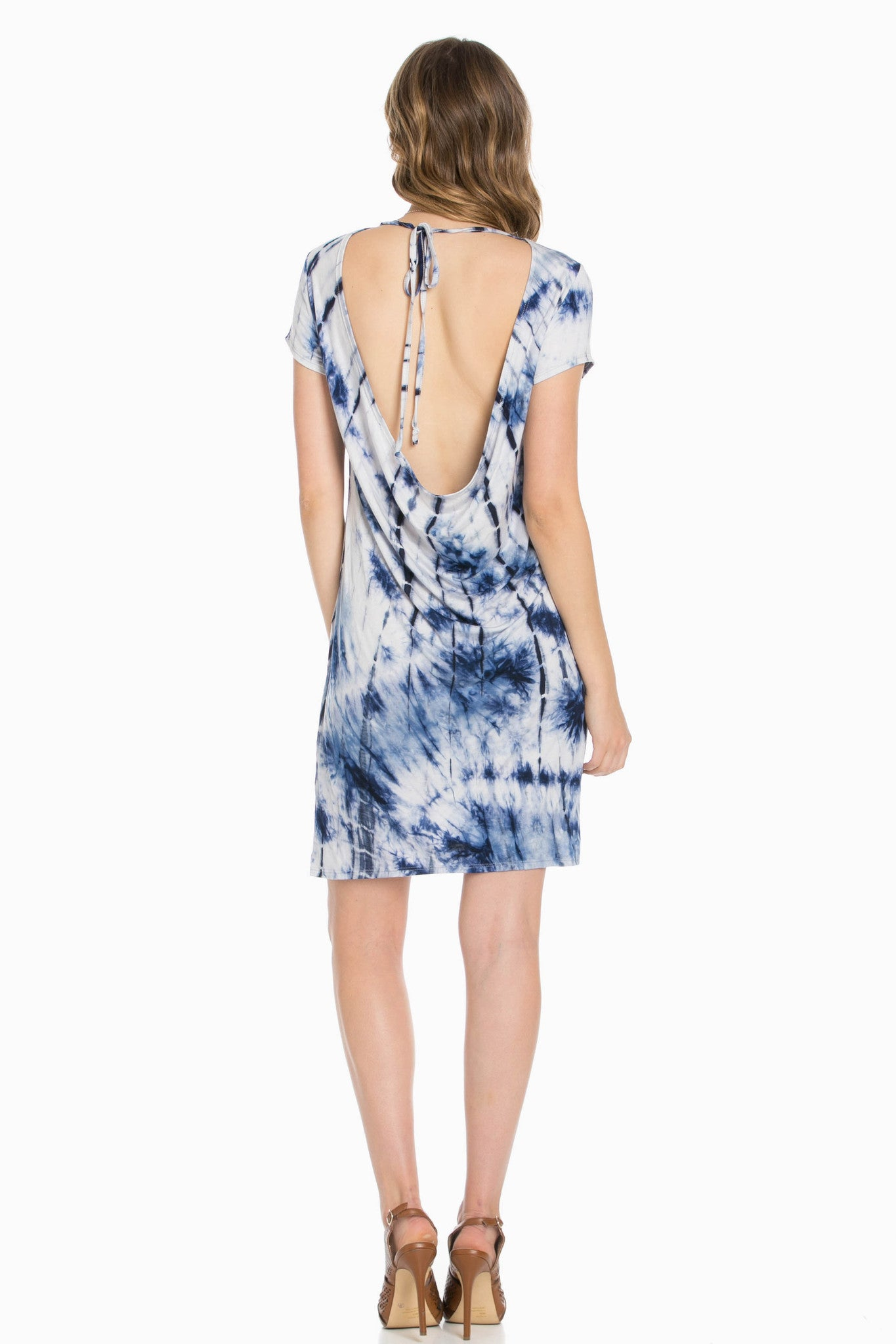 Open Back Blue Tie Dye Dress - Dresses - My Yuccie - 4