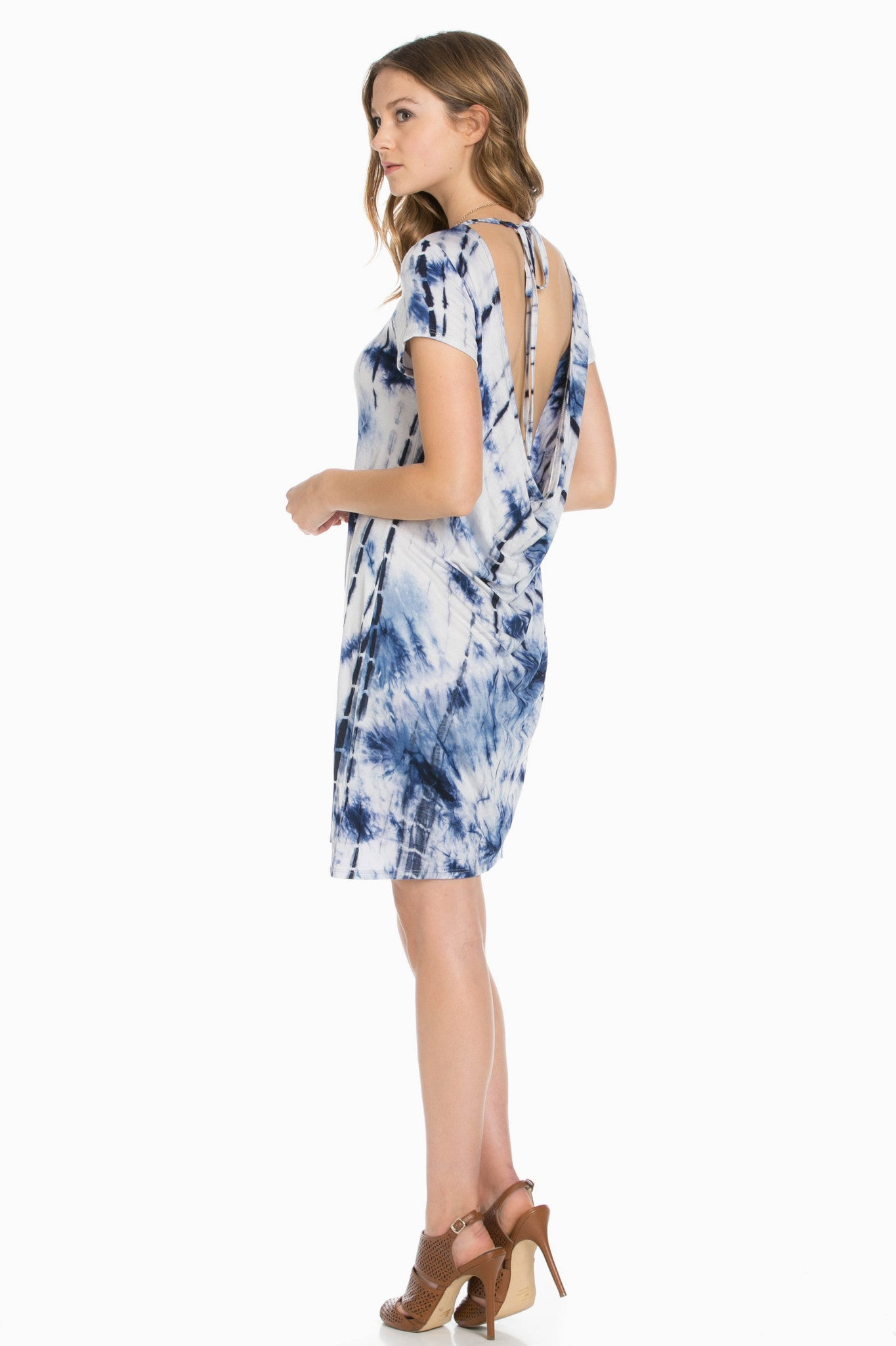 Open Back Blue Tie Dye Dress - Dresses - My Yuccie - 5