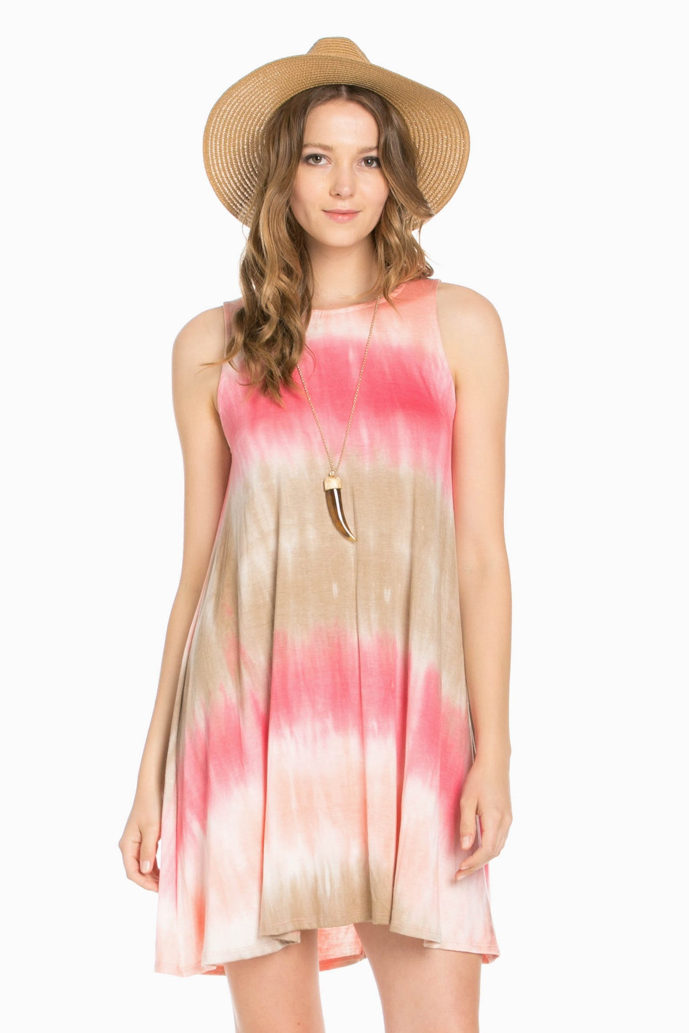 Striped Coral Tie Dye A-Line Dress - Dresses - My Yuccie - 1