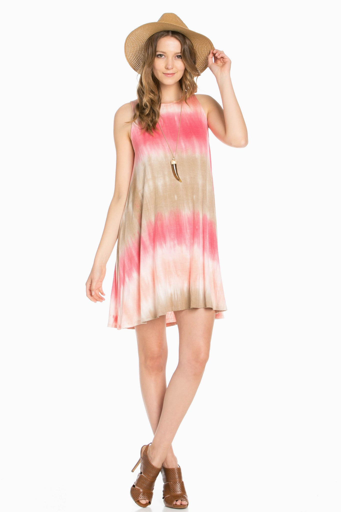 Striped Coral Tie Dye A-Line Dress - Dresses - My Yuccie - 2
