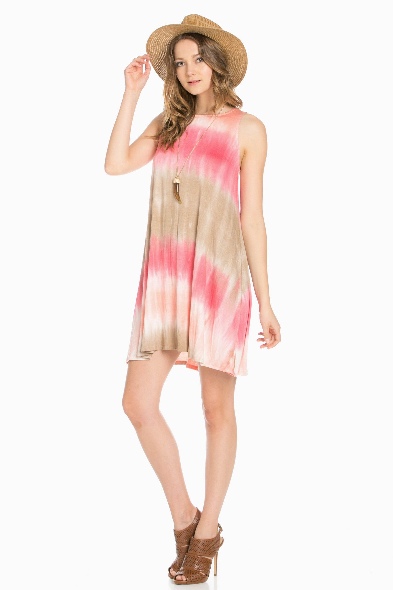Striped Coral Tie Dye A-Line Dress - Dresses - My Yuccie - 3