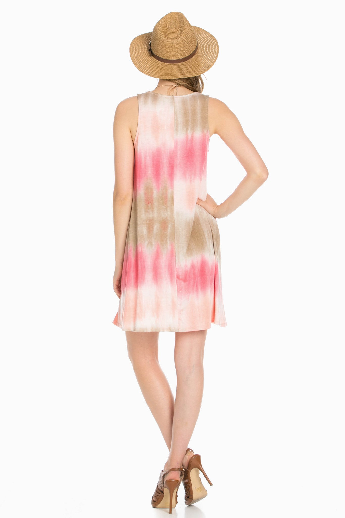Striped Coral Tie Dye A-Line Dress - Dresses - My Yuccie - 4