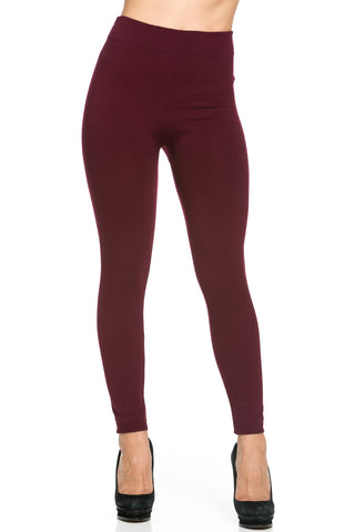 Fleece Lined Leggings Burgundy - Leggings - My Yuccie - 1