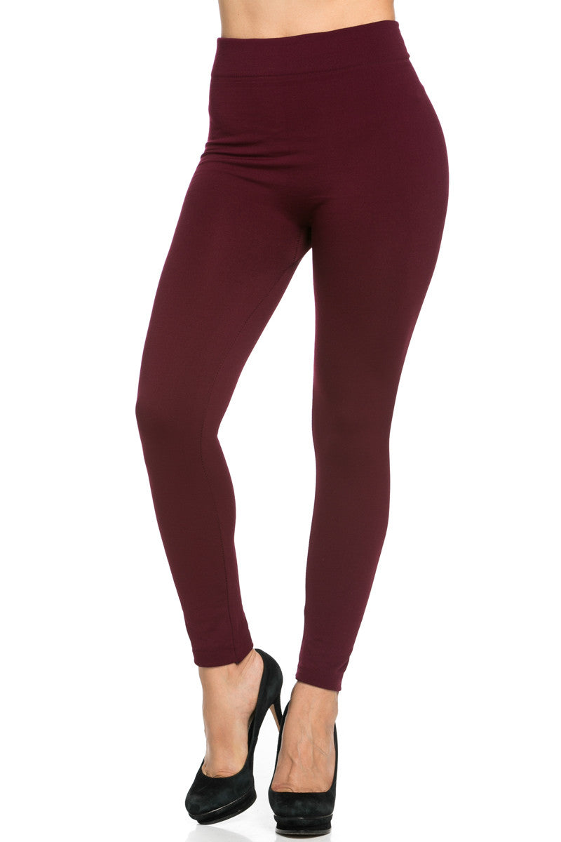 Fleece Lined Leggings Burgundy - Leggings - My Yuccie - 2