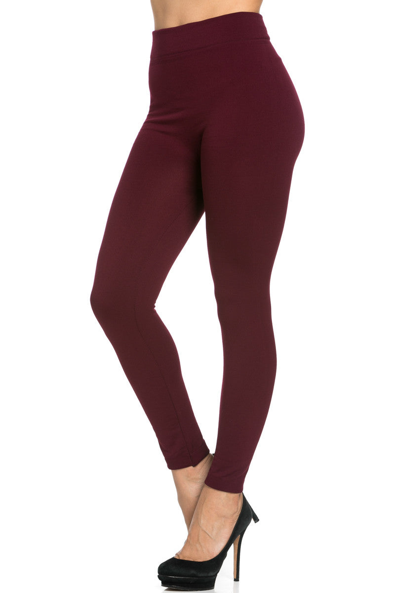 Fleece Lined Leggings Burgundy - Leggings - My Yuccie - 3