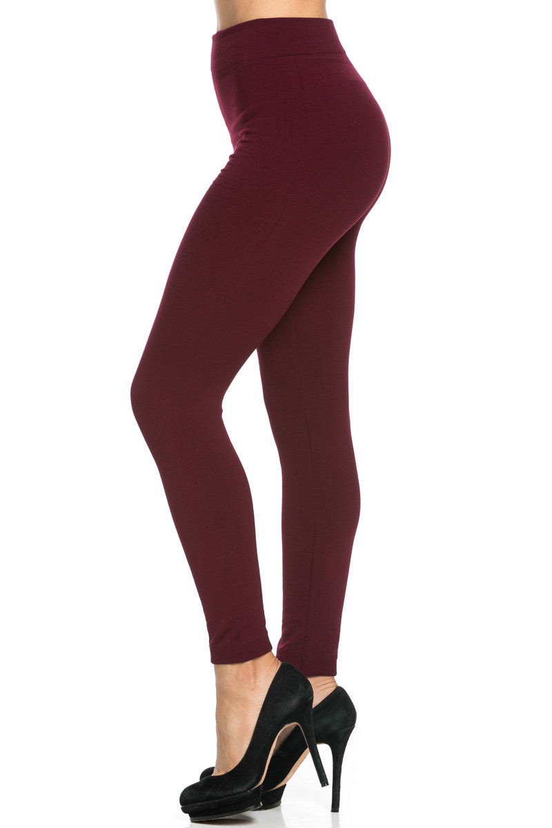 Fleece Lined Leggings Burgundy - Leggings - My Yuccie - 4
