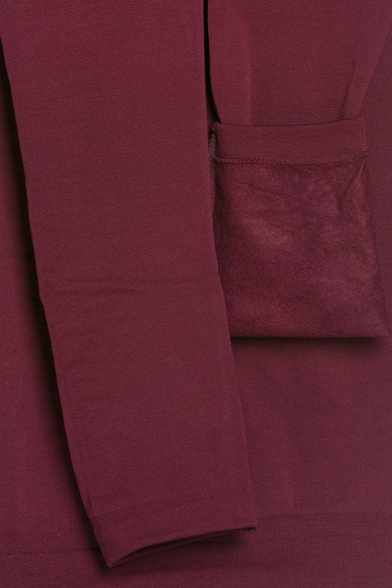 High Waist Fleece Leggings Burgundy - Leggings - My Yuccie - 4